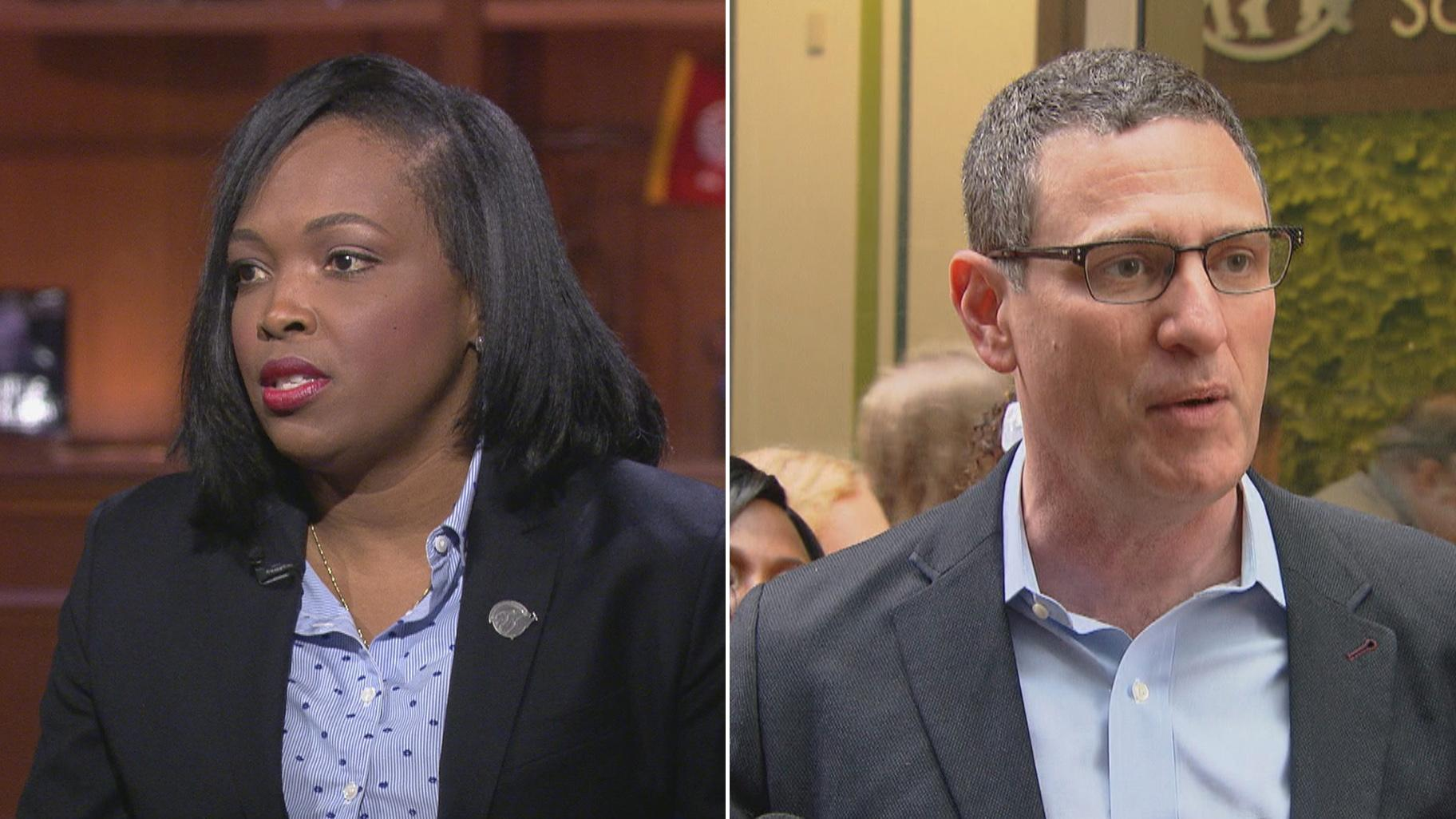 File photos of Chicago Public Schools CEO Janice Jackson, left, and Chicago Teachers Union President Jesse Sharkey. (WTTW News)