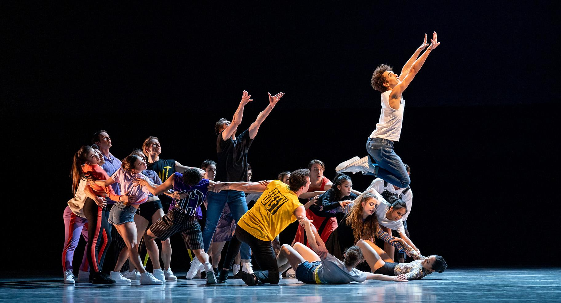 "Joffrey artist Edson Barbosa and ensemble in ""The Times Are Racing."" (Photo by Cheryl Mann)"