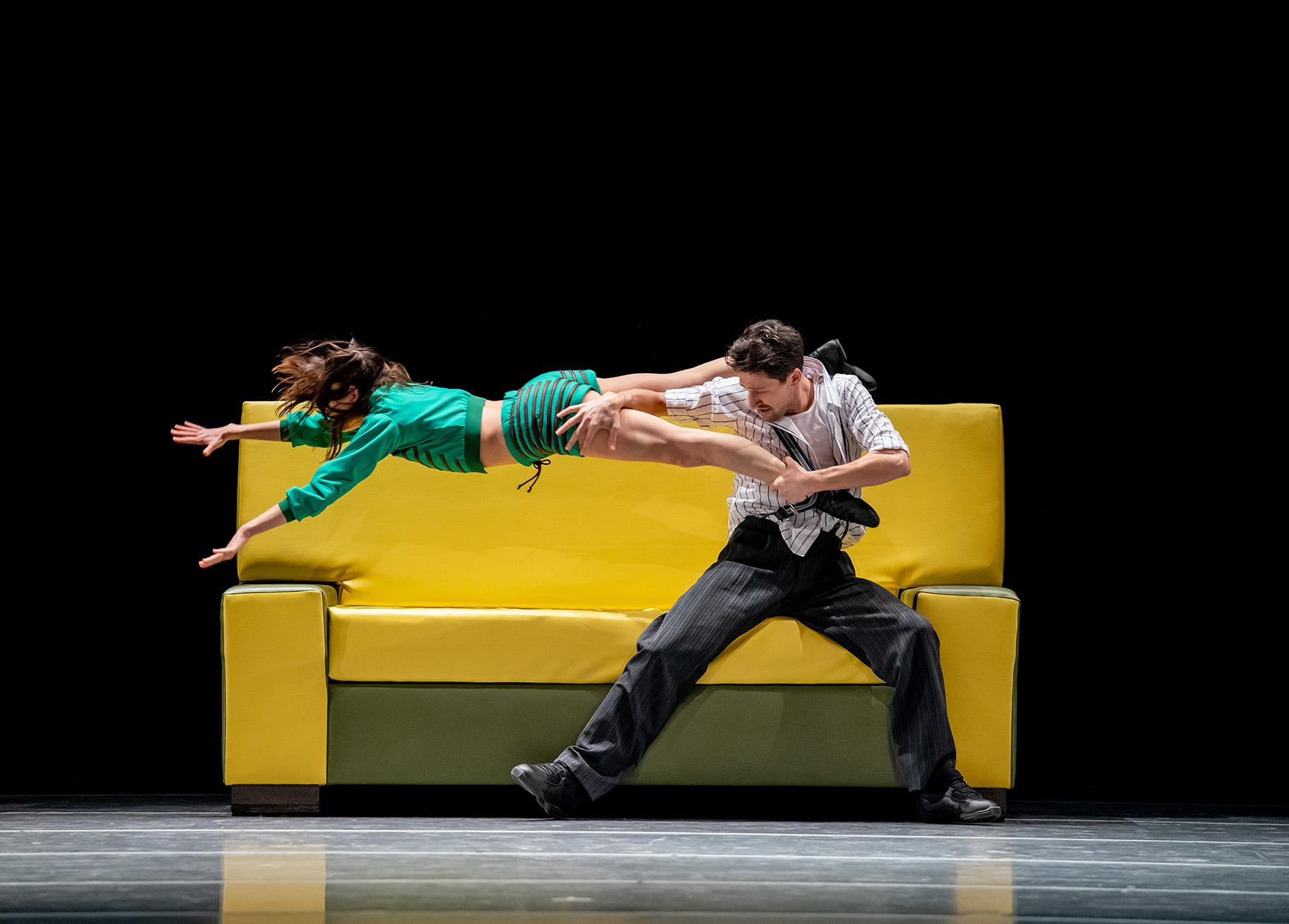 "Joffrey artists Anna Gerberich and Temur Suluashvili in ""The Sofa."" (Photo by Cheryl Mann)"