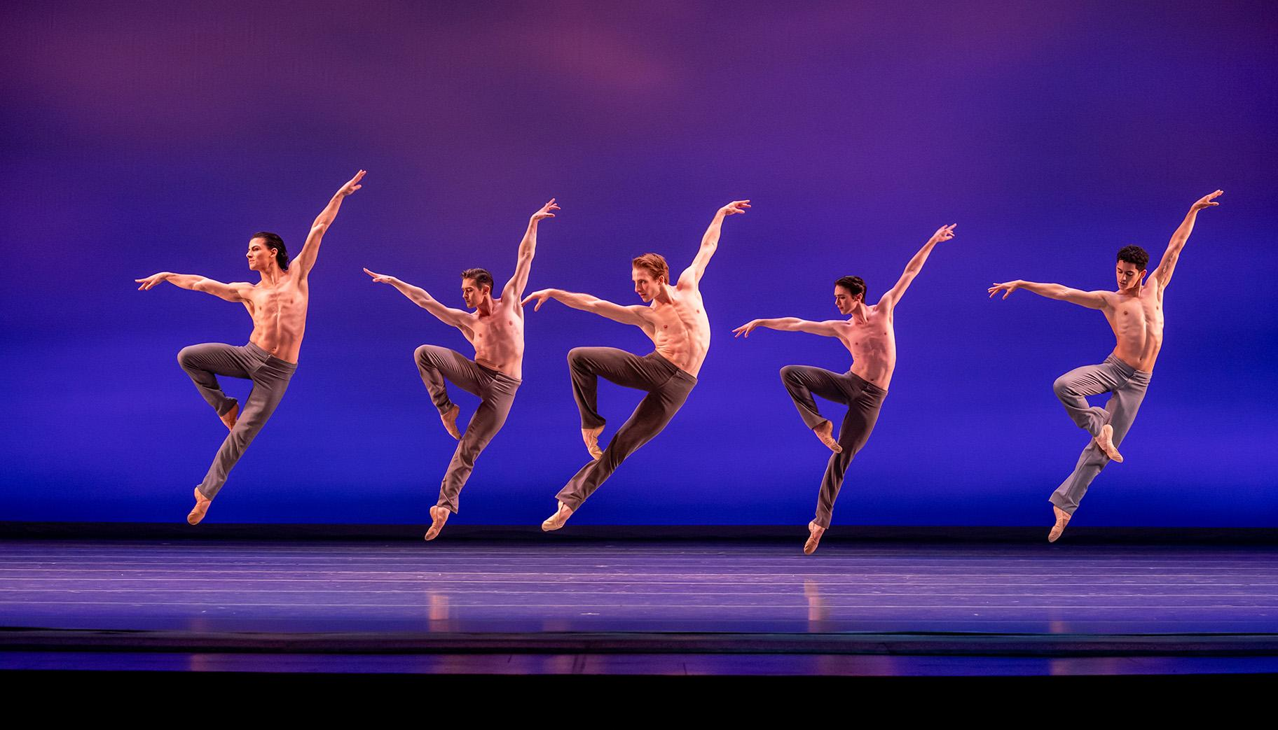 "Joffrey artists Fernando Duarte, Greig Matthews, Stefan Goncalvez, Evan Boersma and Xavier Nunez in ""Bliss!"" (Photo by Cheryl Mann)"