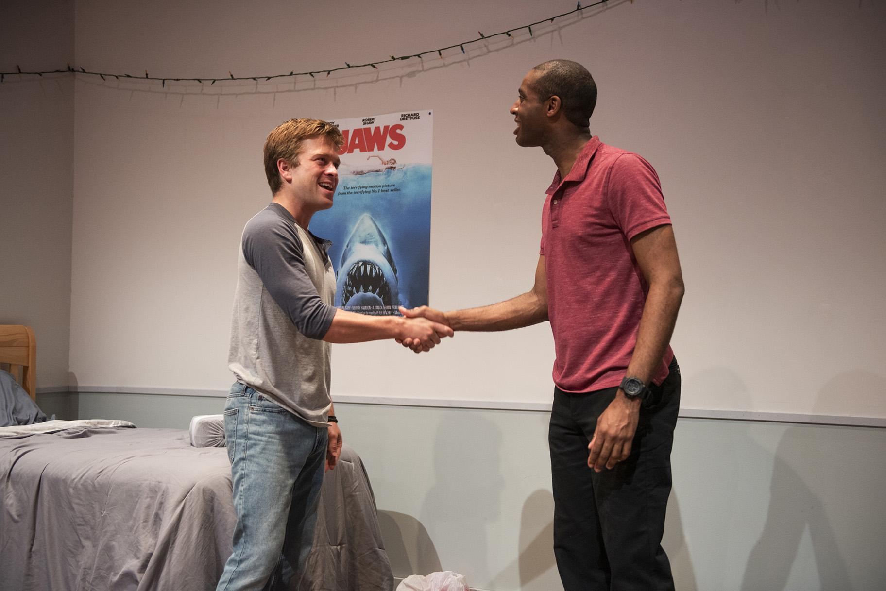 "Julian Hester, left, and Michael Aaron Pogue in ""The Recommendation."" (Photo Credit Michael Brosilow)"