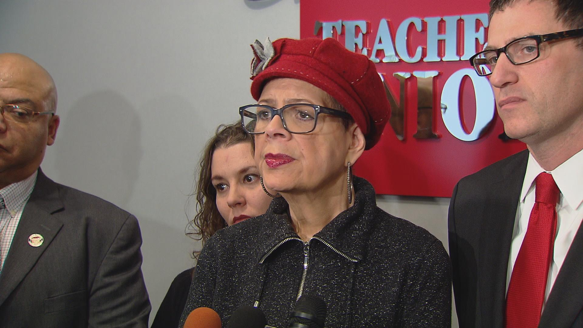 Karen Lewis on Jan. 20 responds to a proposal by Gov. Bruce Rauner and Republican leaders for a state takeover of CPS.