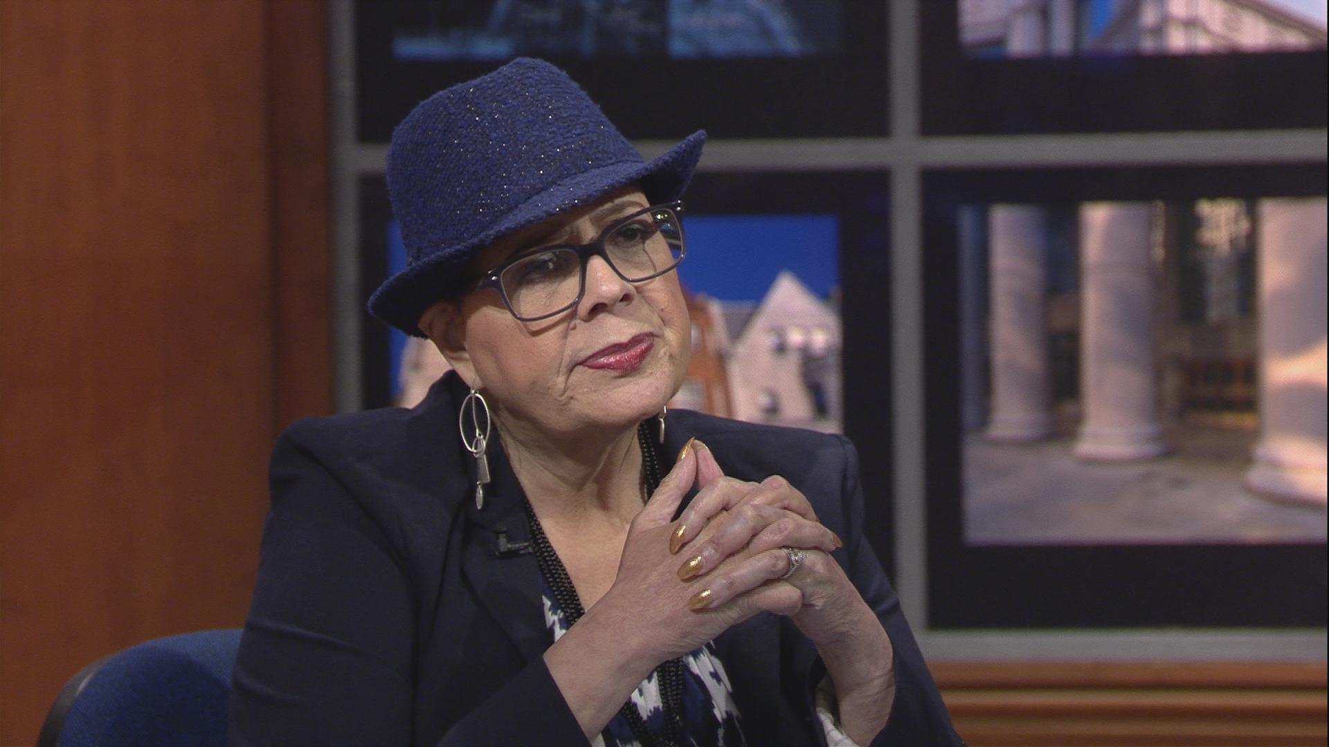 "Karen Lewis appears on ""Chicago Tonight"" on Sept. 5."