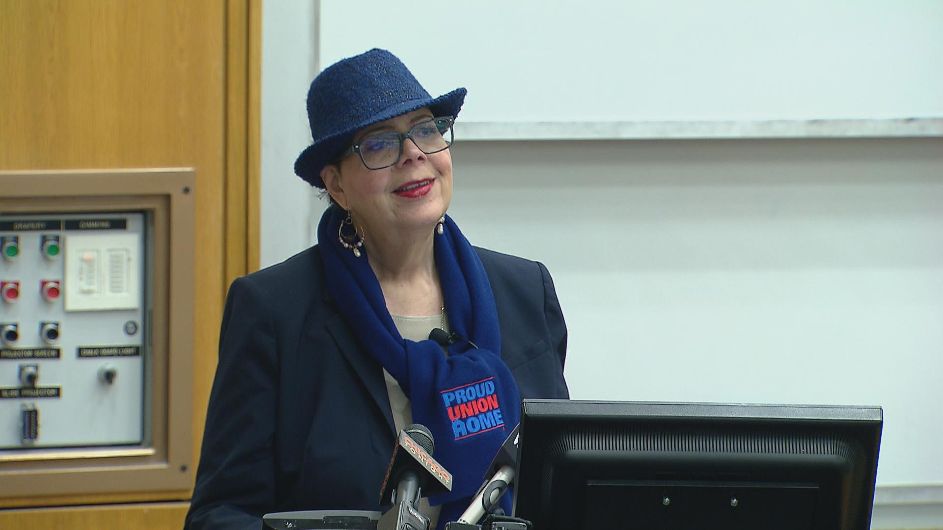 Chicago Teachers Union President Karen Lewis spent an hour Wednesday afternoon lecturing students and taking questions on education policy at the University of Illinois-Chicago. (Chicago Tonight)