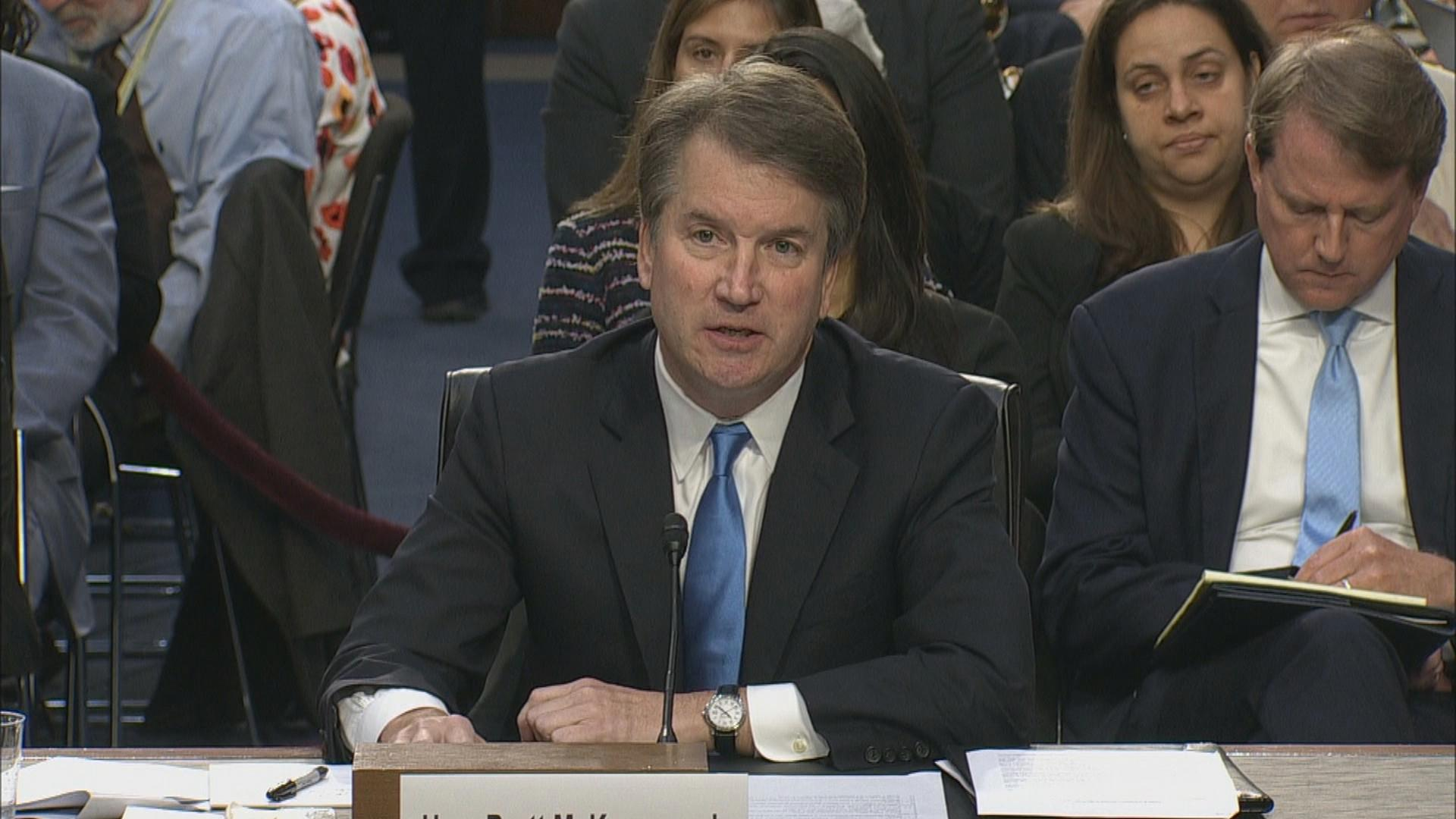 Judge Brett Kavanaugh discusses Roe v. Wade during his confirmation hearing before the Senate Judiciary Committee on Wednesday, Sept. 5, 2018.