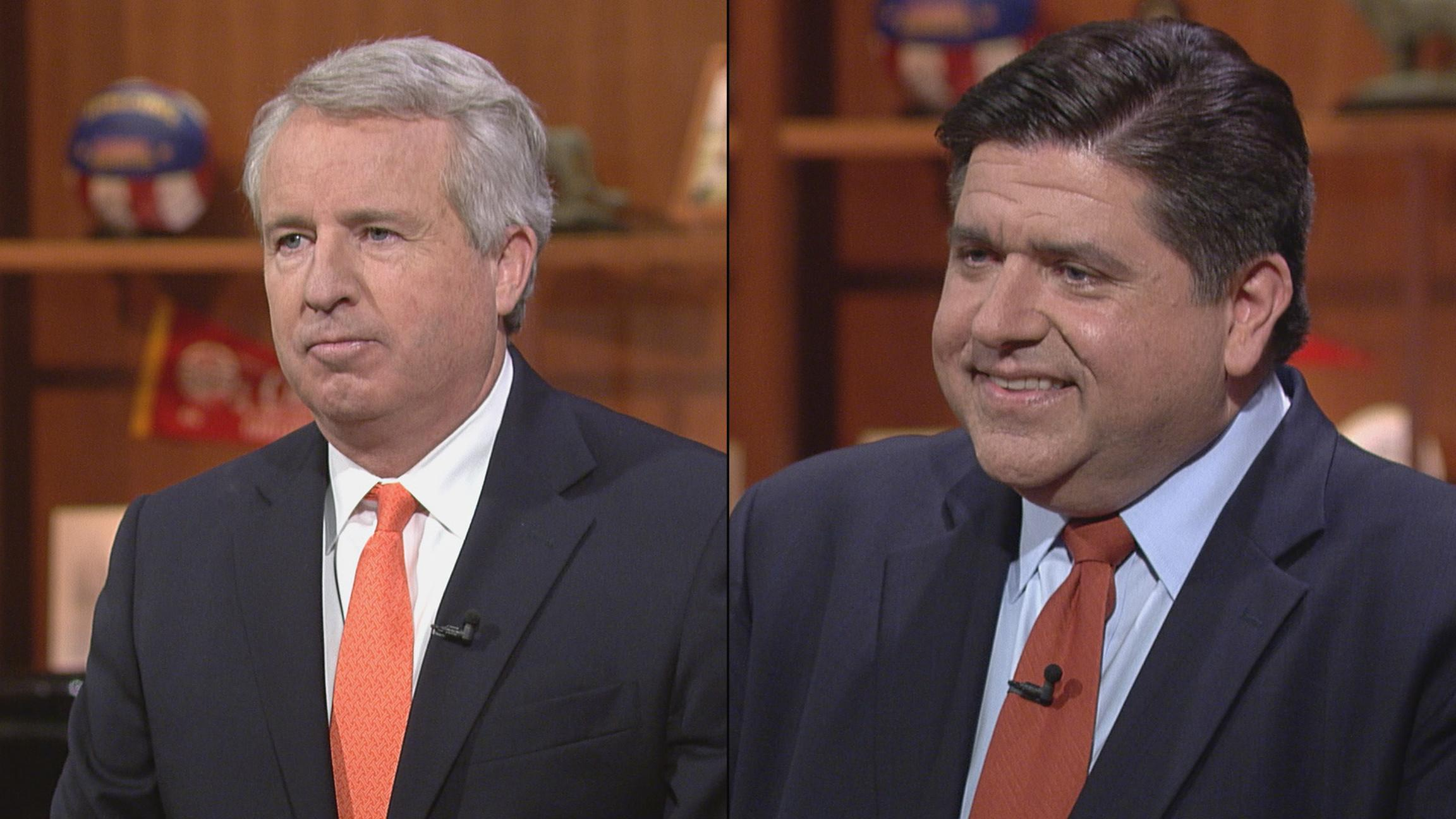 "Candidates for Illinois governor Chris Kennedy, left, and J.B. Pritzker appear on ""Chicago Tonight"" on June 22 and June 15, respectively."