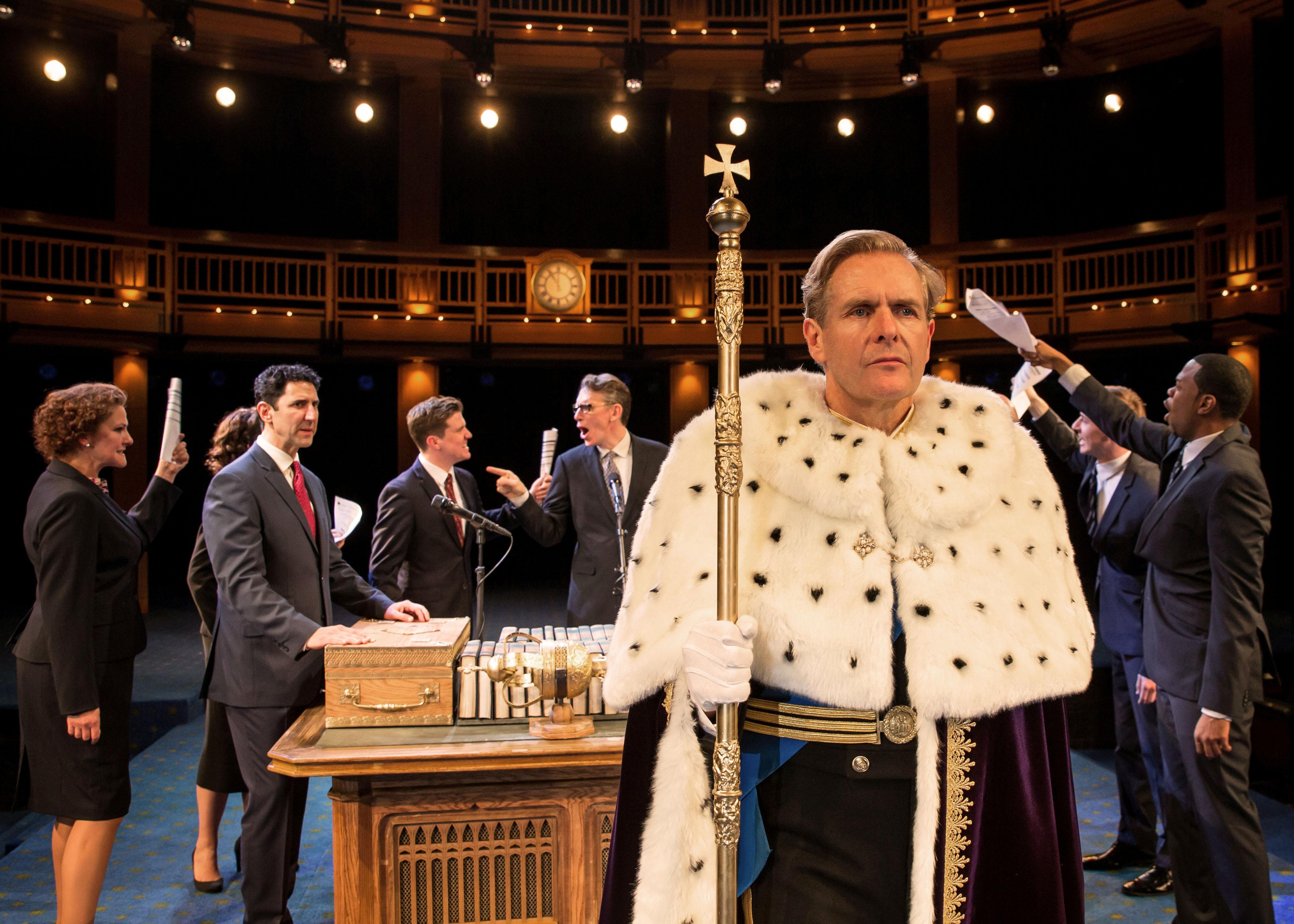 "In an act of conscience, Charles (Robert Bathurst) makes a startling proclamation to the assembled Parliament in in Mike Bartlett's award-winning new play ""King Charles III.""  (Credit: Liz Lauren)"