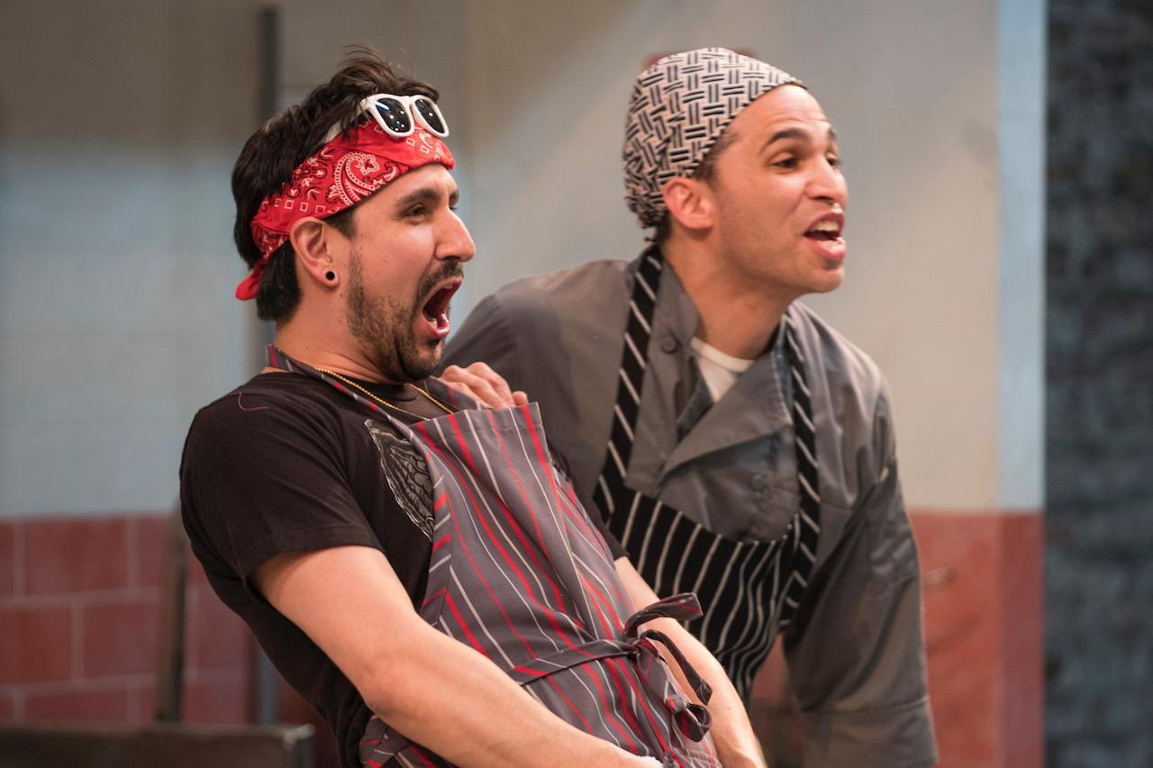 "Víctor Maraña, left, and Dennis García in ""How to Use a Knife."" (Photo by Michael Brosilow)"