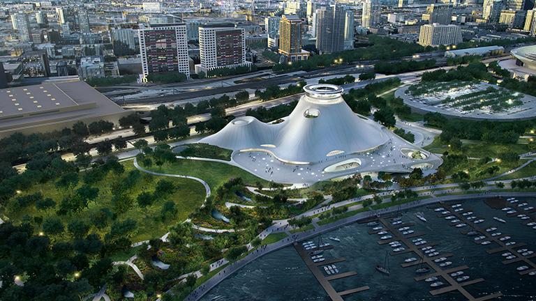 Rendering of the Lucas museum. (Courtesy of the Lucas Museum of Narrative Art)