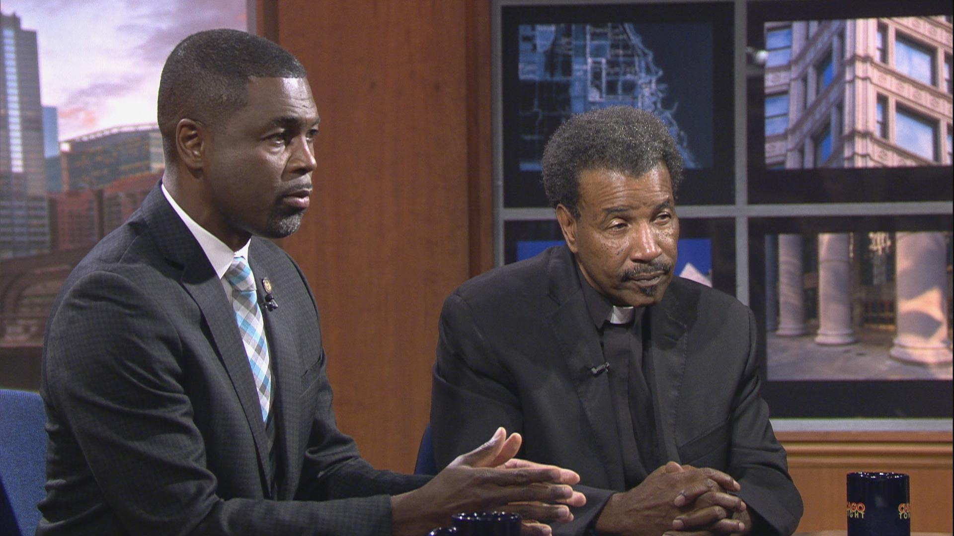 """State Rep. La Shawn Ford, left, and the Rev. Anthony Williams appear on """"Chicago Tonight"""" in August 2018 to discuss Chicago's epidemic of violence."""