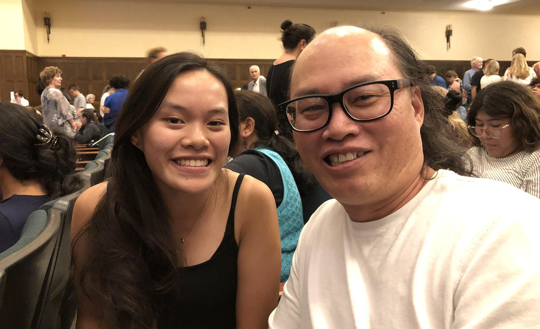 Noel Feller, a student at Lane Tech High School who studies cello, attended Tuesday night's concert by the Chicago Symphony Orchestra along with her father, Van Feller. (Photo by Hedy Weiss)