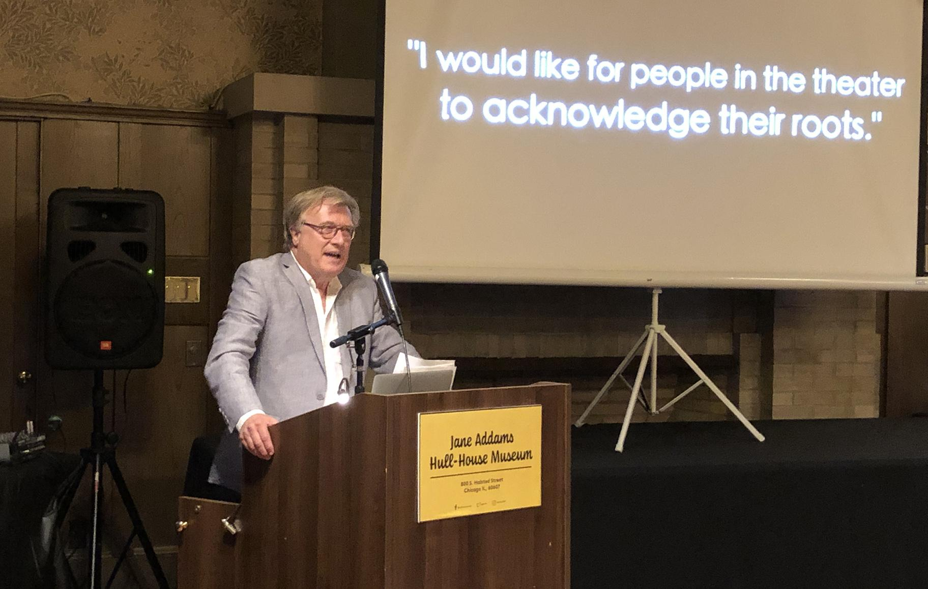 Mark Larson speaks at Hull House on Monday, Aug. 12, 2019. (Photo by Hedy Weiss)