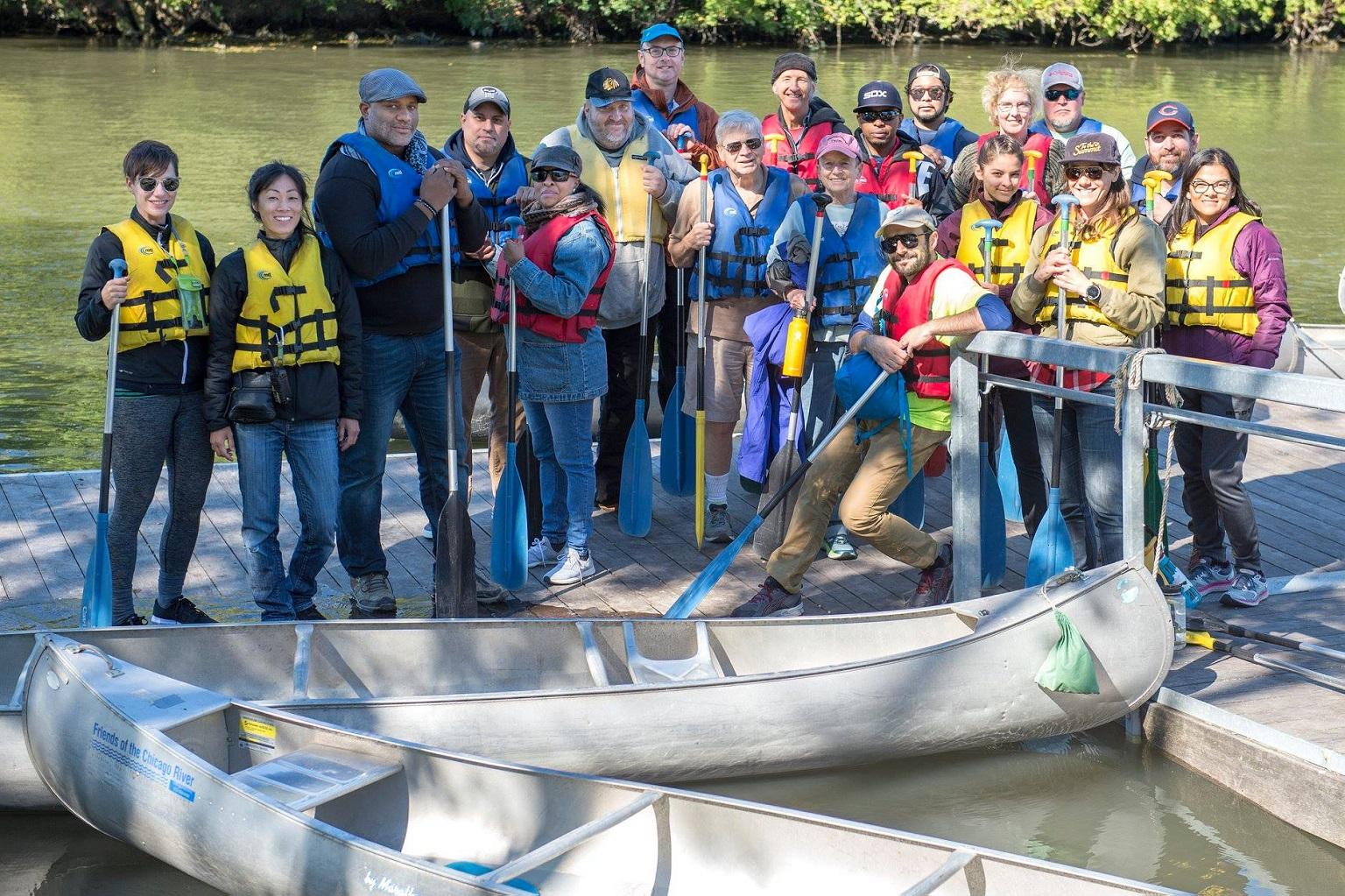 Residents and community leaders pose for a photo during a recent kick-off paddling event for the new Lathrop Riverfront Group. (Courtesy Metropolitan Water Reclamation District of Greater Chicago)