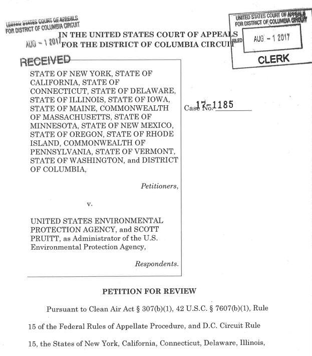 Document: Lawsuit against EPA Administrator Scott Pruitt (U.S. Court of Appeals)
