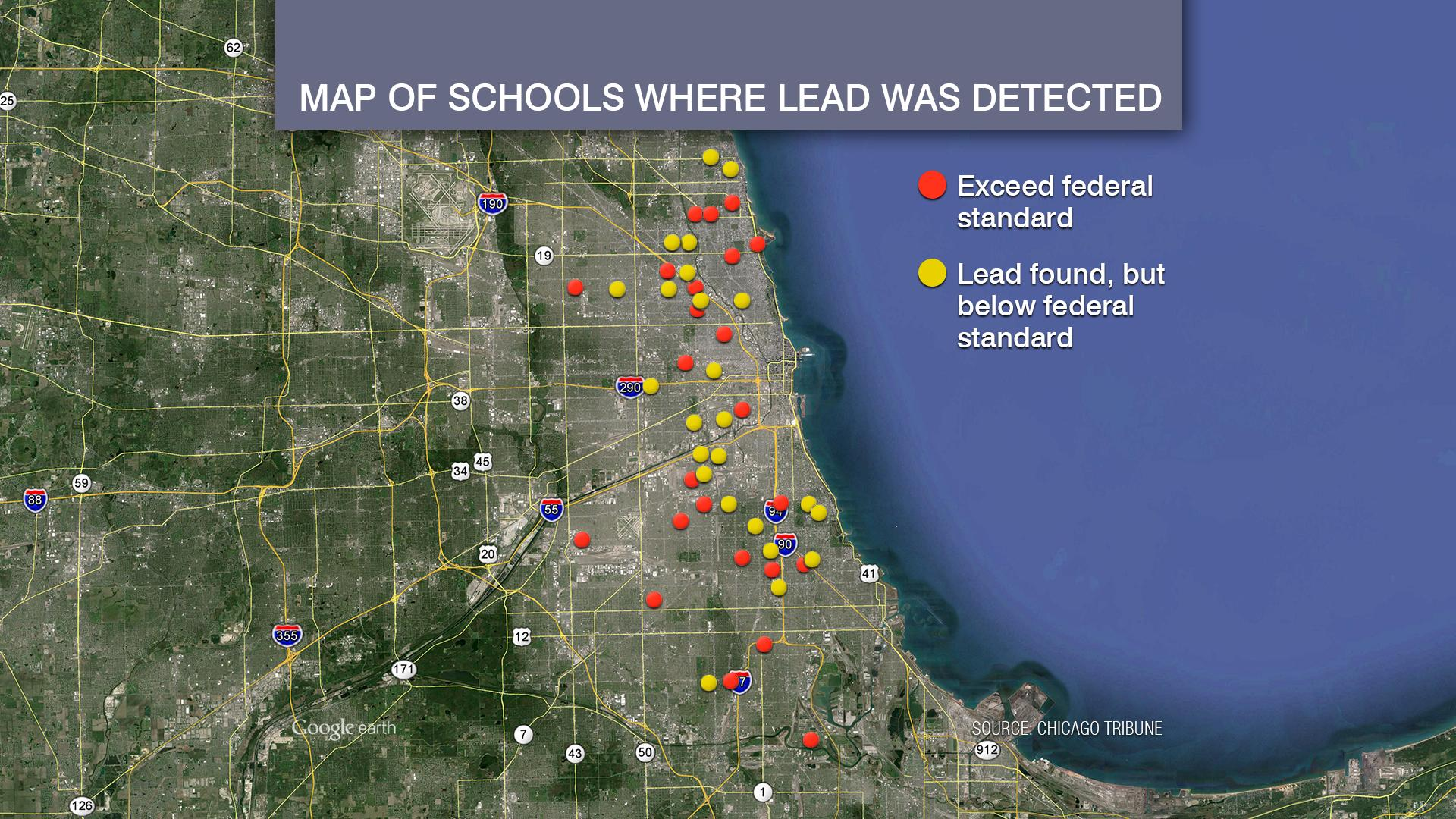 Chicago Public Schools officials released data last year showing high lead levels in water at 113 CPS schools, some of which are shown here.