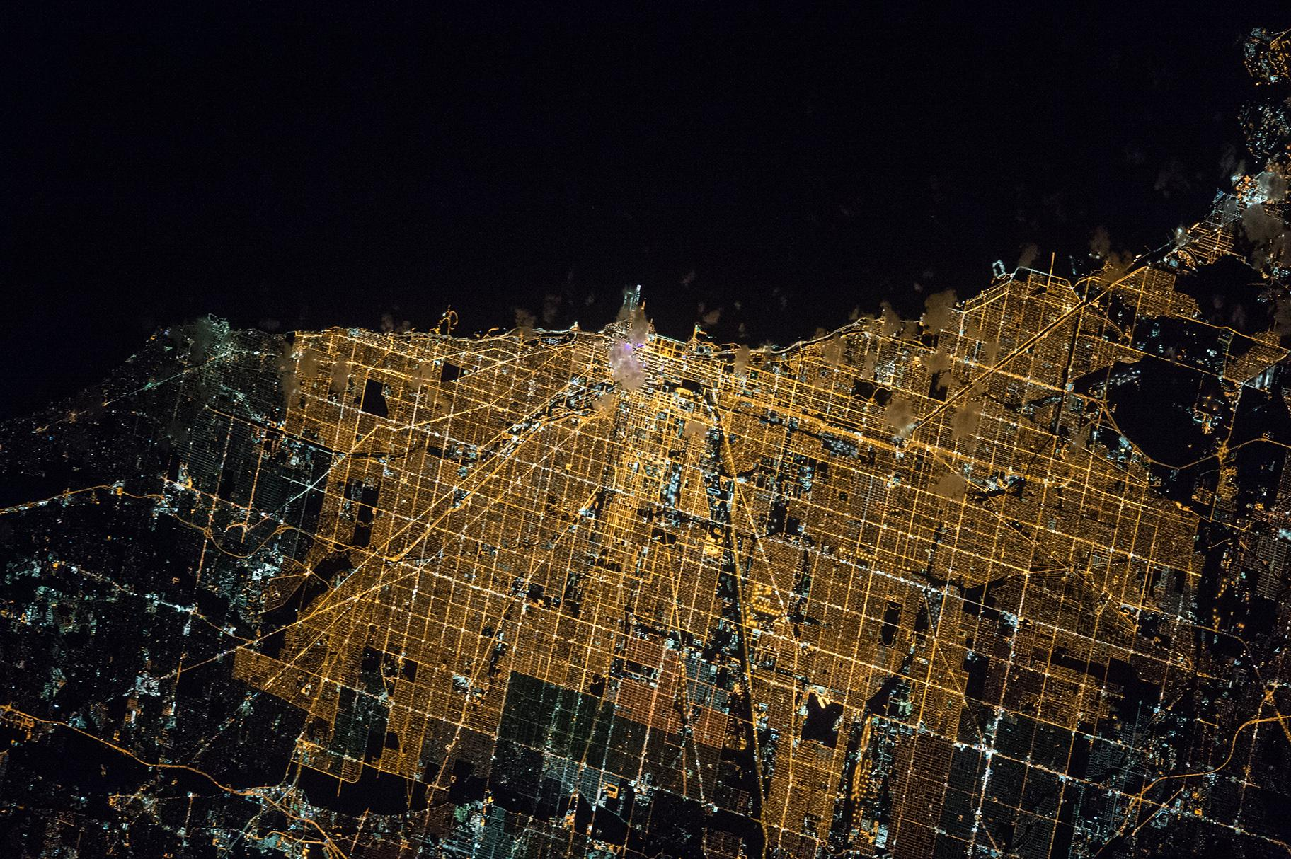 A night image of Chicago taken on April 5, 2016 from the International Space Station (NASA)