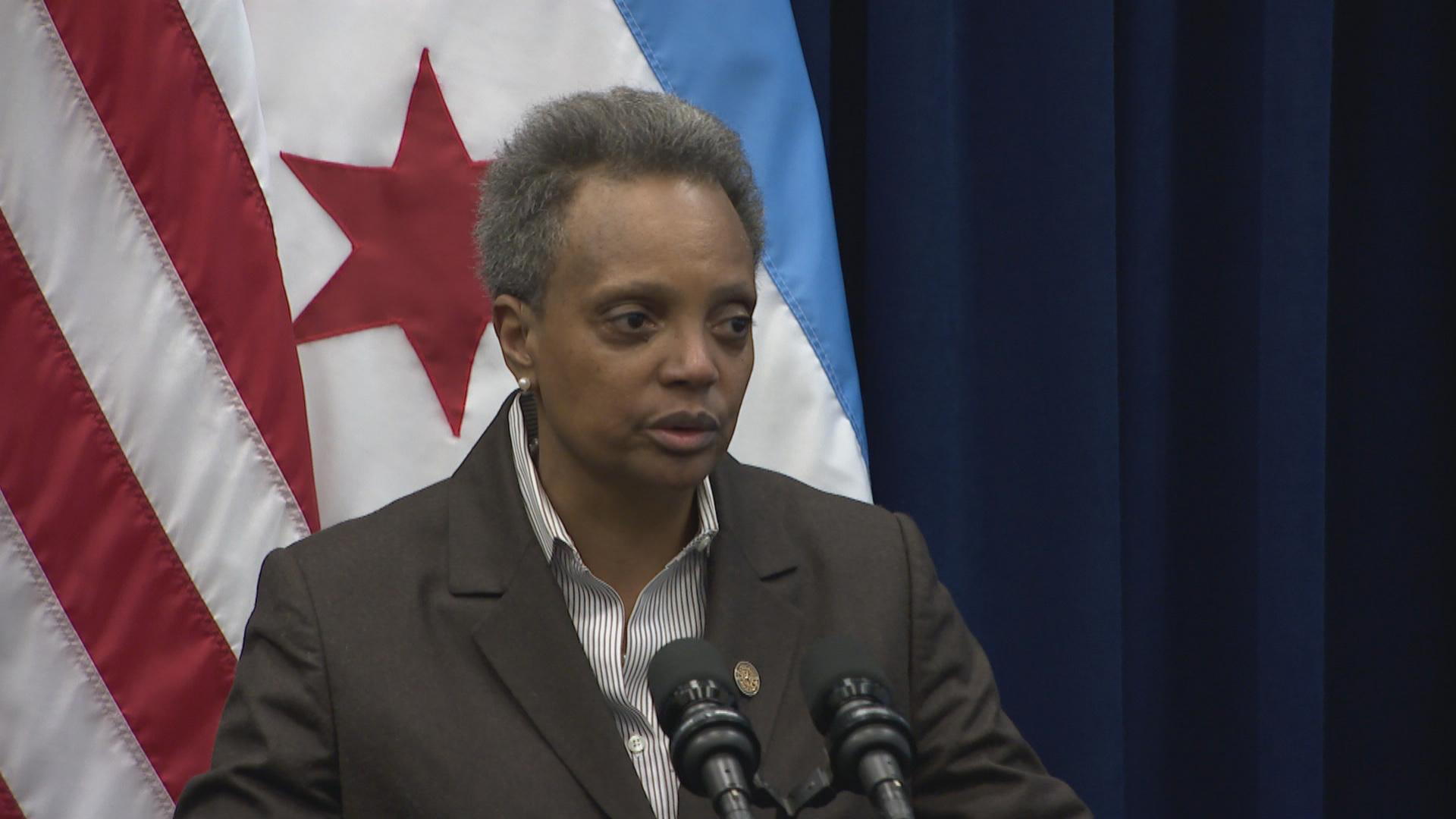 Mayor Lori Lightfoot speaks to the media following a chaotic City Council meeting on Wednesday, Dec. 18, 2019. (WTTW News)