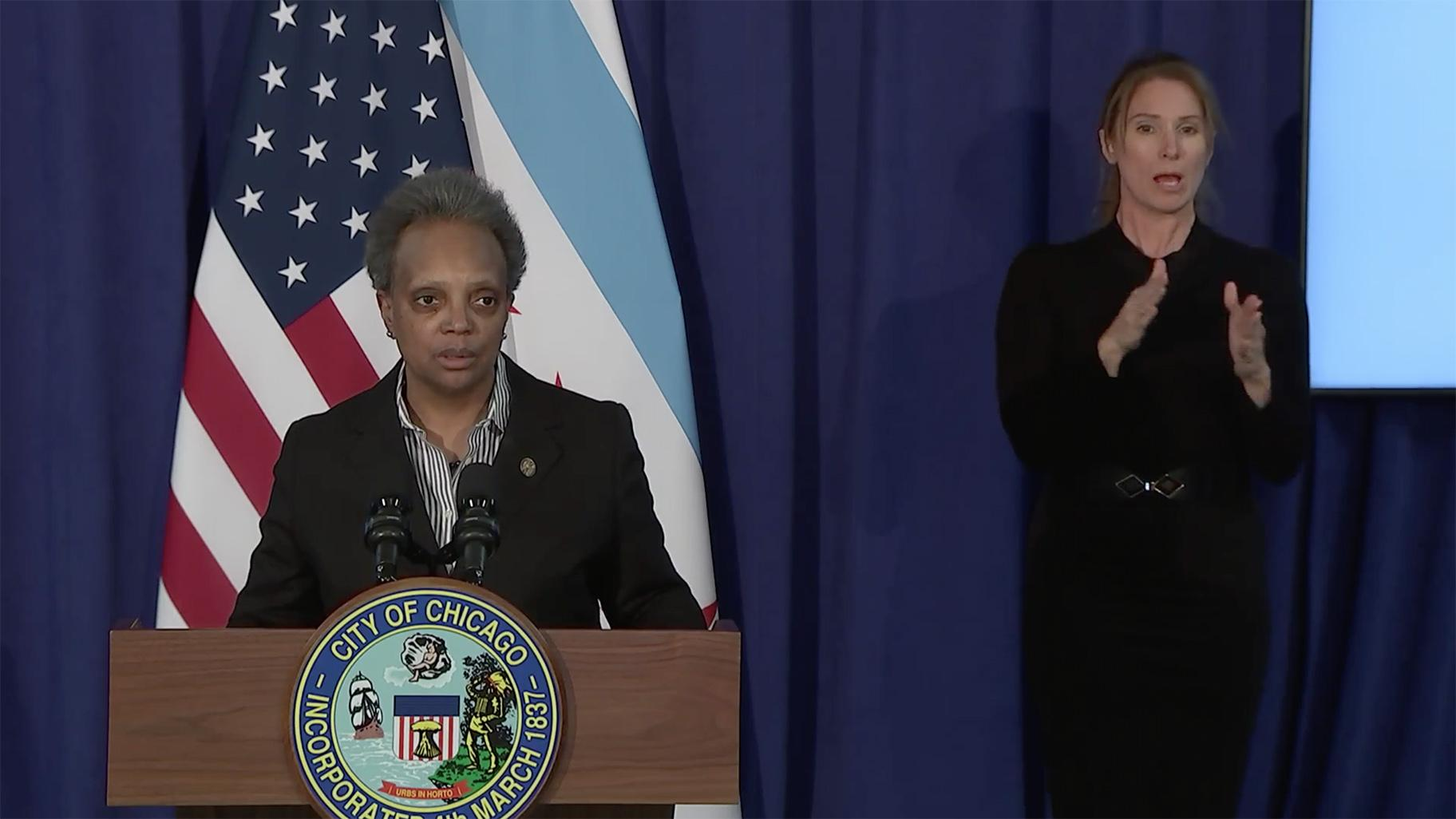 Mayor Lori Lightfoot gives an update on negotiations between Chicago Public Schools and the Chicago Teachers Union at a news conference Sunday, Jan. 31, 2021. (WTTW News via Chicago Mayor's Office Facebook)