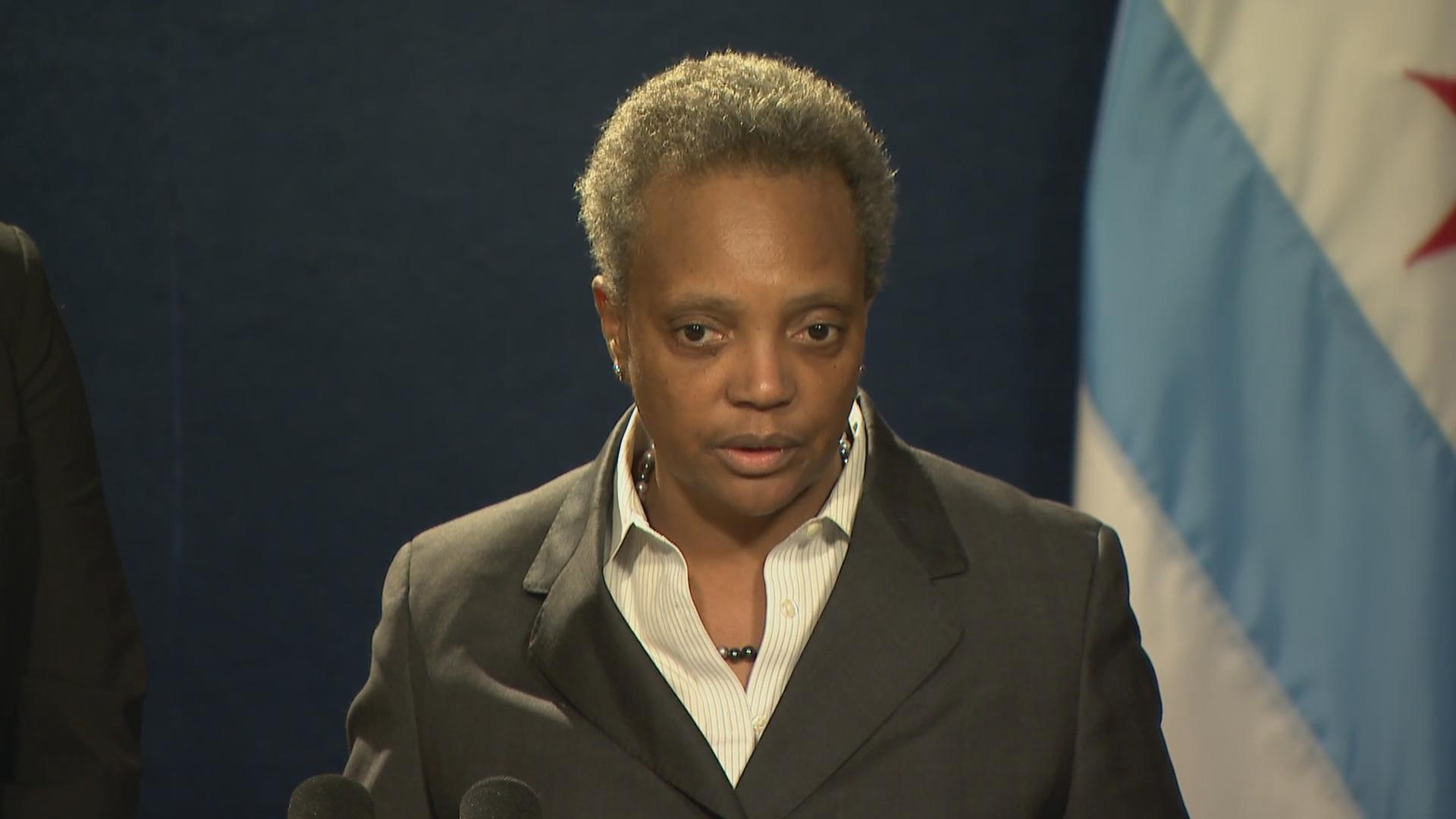 Chicago Mayor Lori Lightfoot speaks about the ongoing teachers strike on Tuesday, Oct. 29, 2019, the ninth day of the work stoppage. (WTTW News)