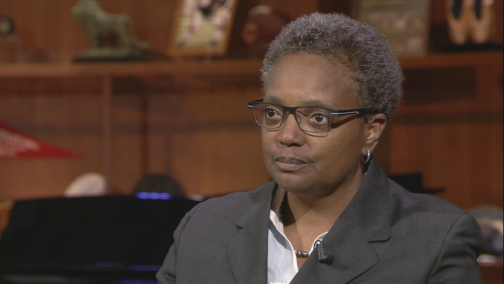 "Lori Lightfoot speaks with Carol Marin on ""Chicago Tonight"" on Aug. 2."