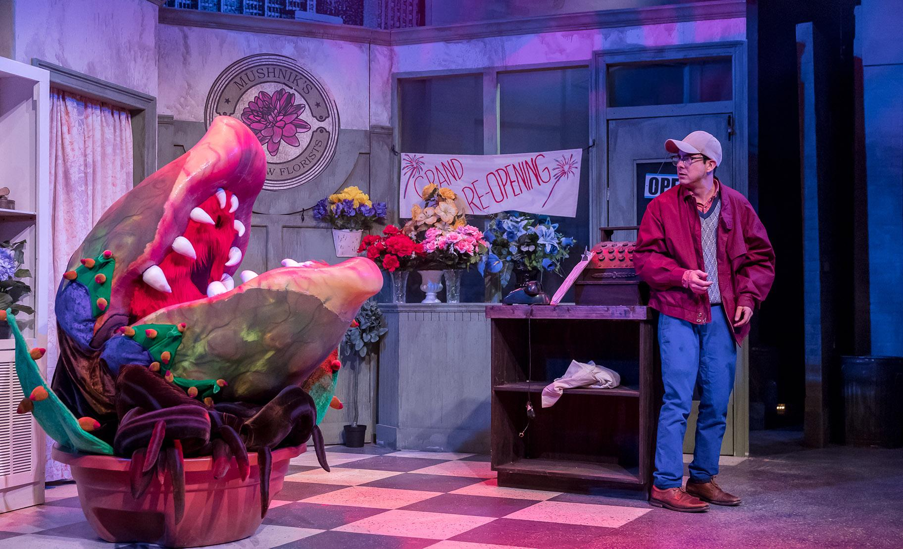 "Sam Woods (puppet) and Christopher Kale Jones in ""Little Shop of Horrors."" (Photo credit: Brett Beiner)"