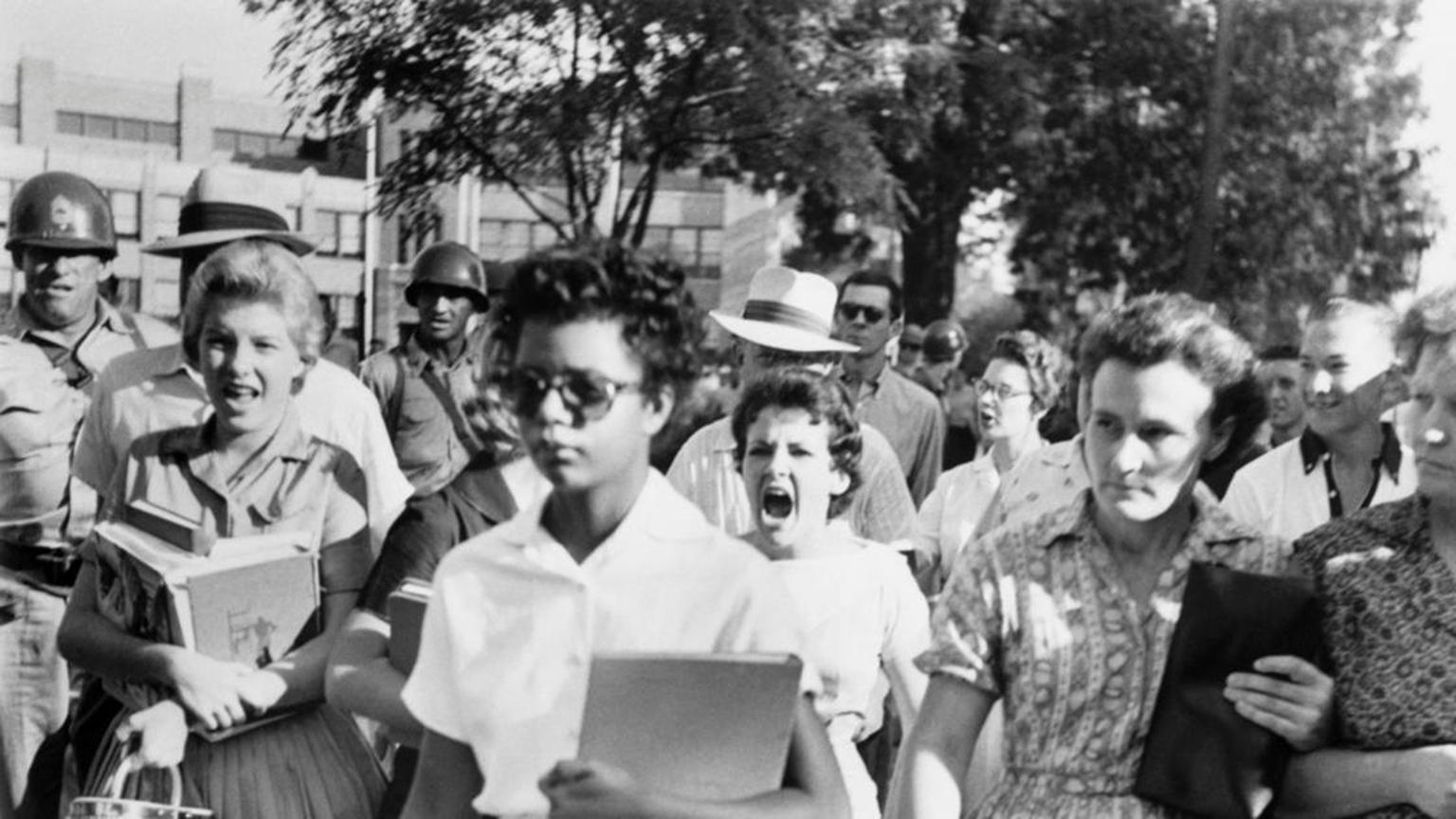 Elizabeth Eckford walks to Central High School in Little Rock, Arkansas.