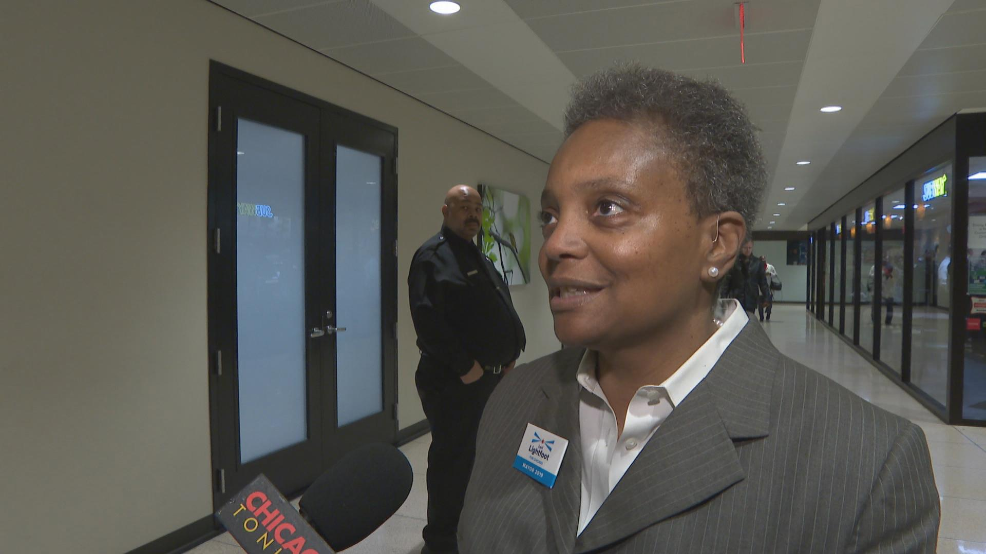 """Toni Preckwinkle is doing what a party boss does,"" mayoral candidate Lori Lightfoot said Monday, Dec. 17, 2018."