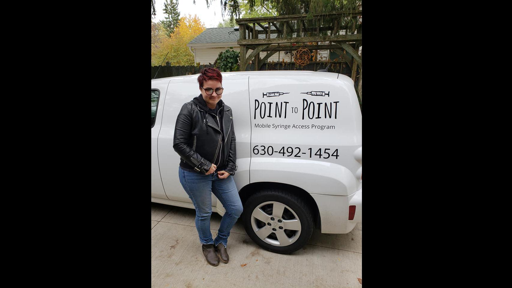 Batavia resident Lyndsay Hartman has been running Point to Point, a mobile syringe exchange program, in Kane county for about a year. (Point to Point / Facebook)