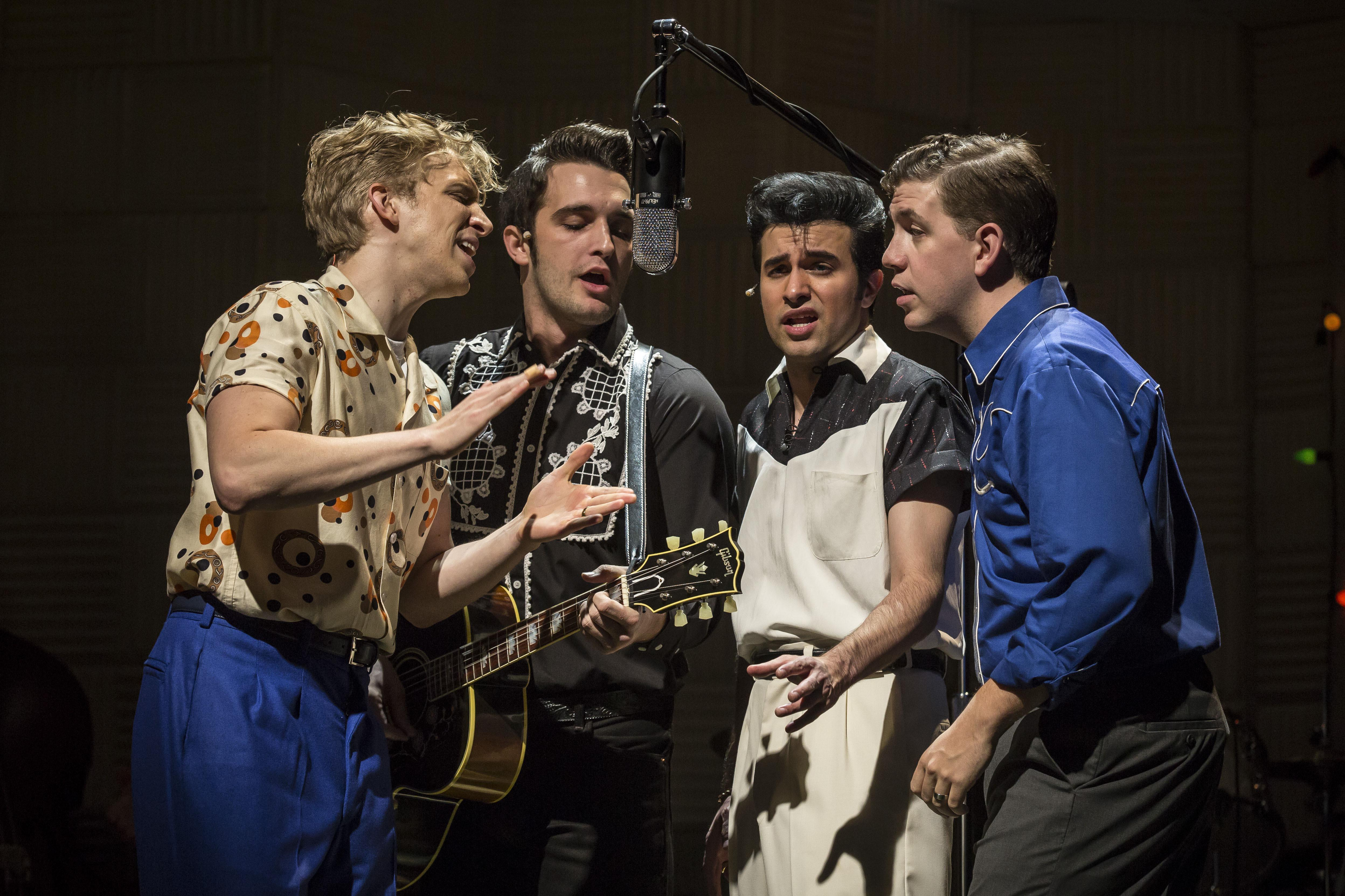"""Million Dollar Quartet"" stars, from left: Gavin Rohrer as Jerry Lee Lewis, Bill Scott Sheets as Johnny Cash, Kavan Hashemian as Elvis Presley and Adam Wesley Brown as Carl Perkins. (Credit: Liz Lauren)"