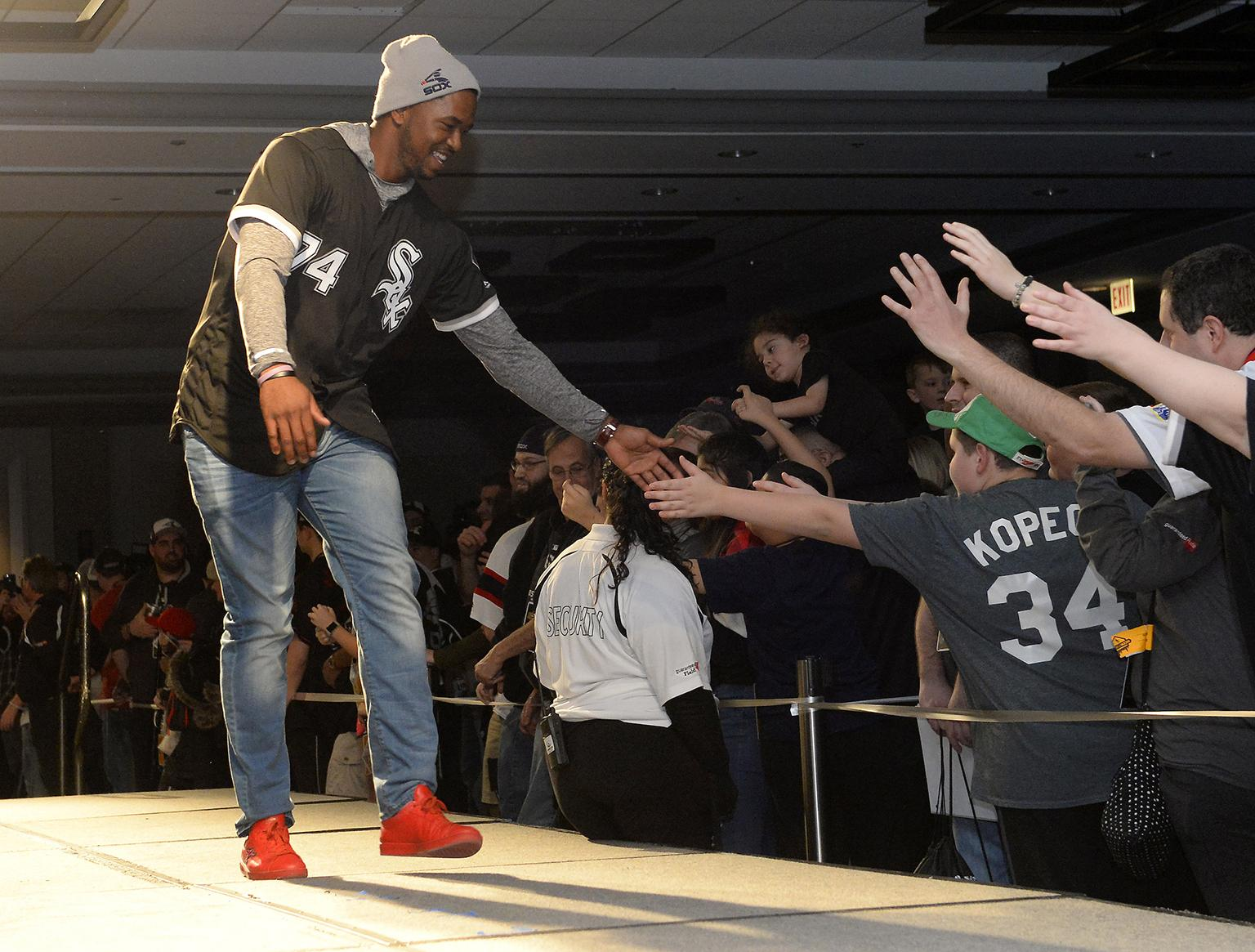 Eloy Jimenez greets fans at SoxFest in January. (Ron Vesely / Chicago White Sox)