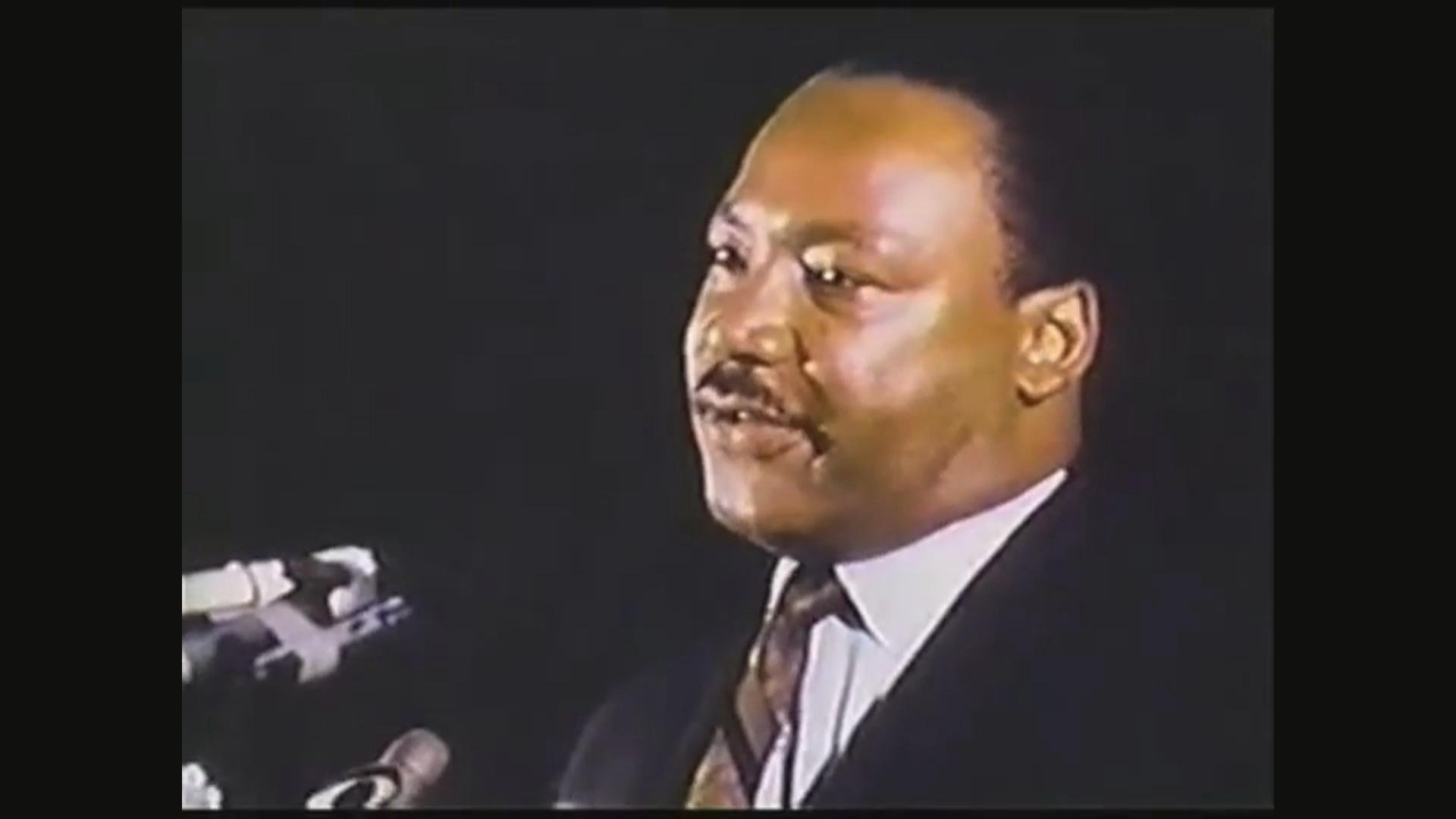 "Martin Luther King Jr. delivers his ""Mountaintop"" speech on April 3, 1968."