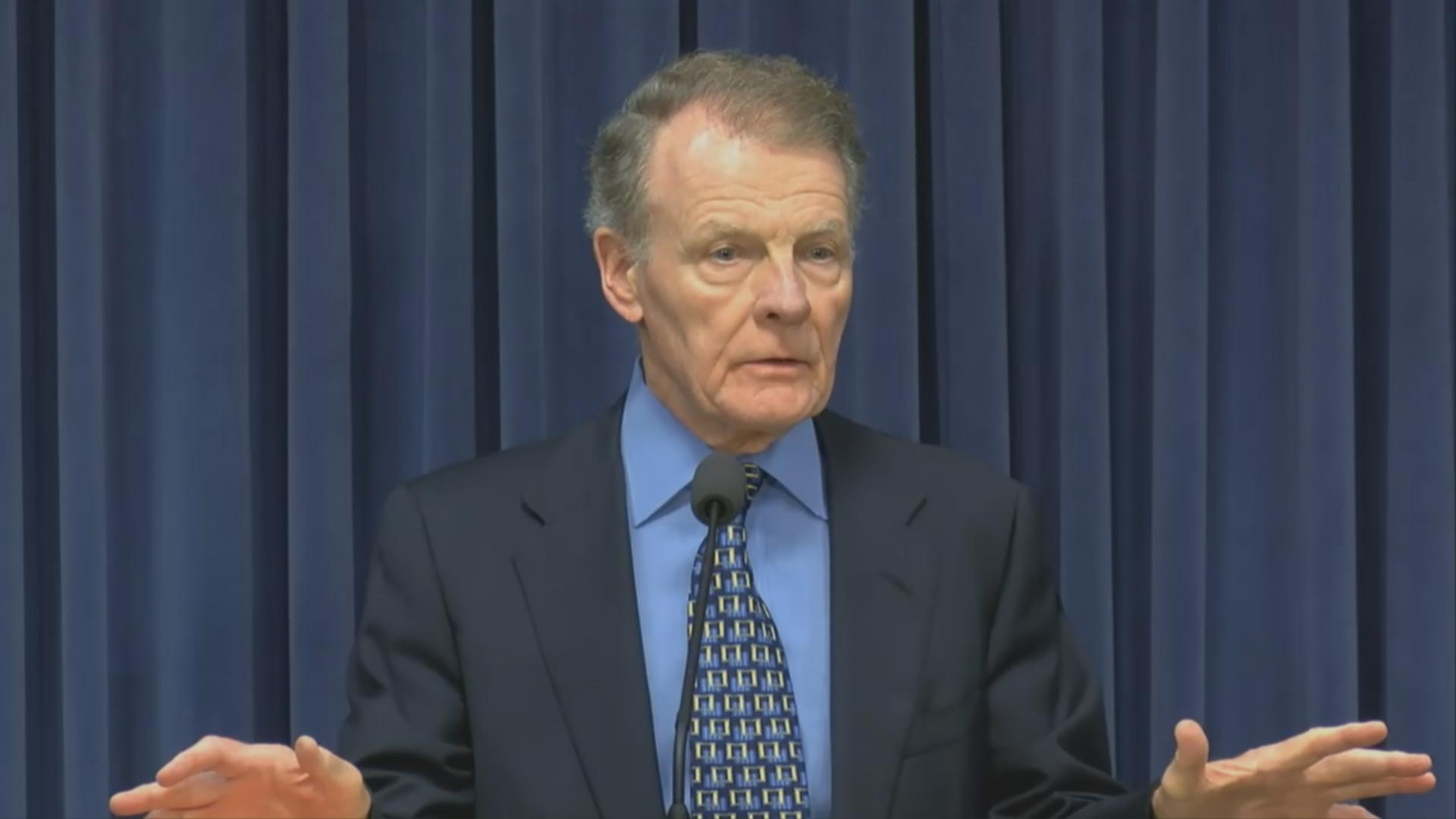 "House Speaker Michael Madigan talks about education funding on Aug. 16, 2017. ""We're not going to walk away from Senate Bill 1,"" he said."