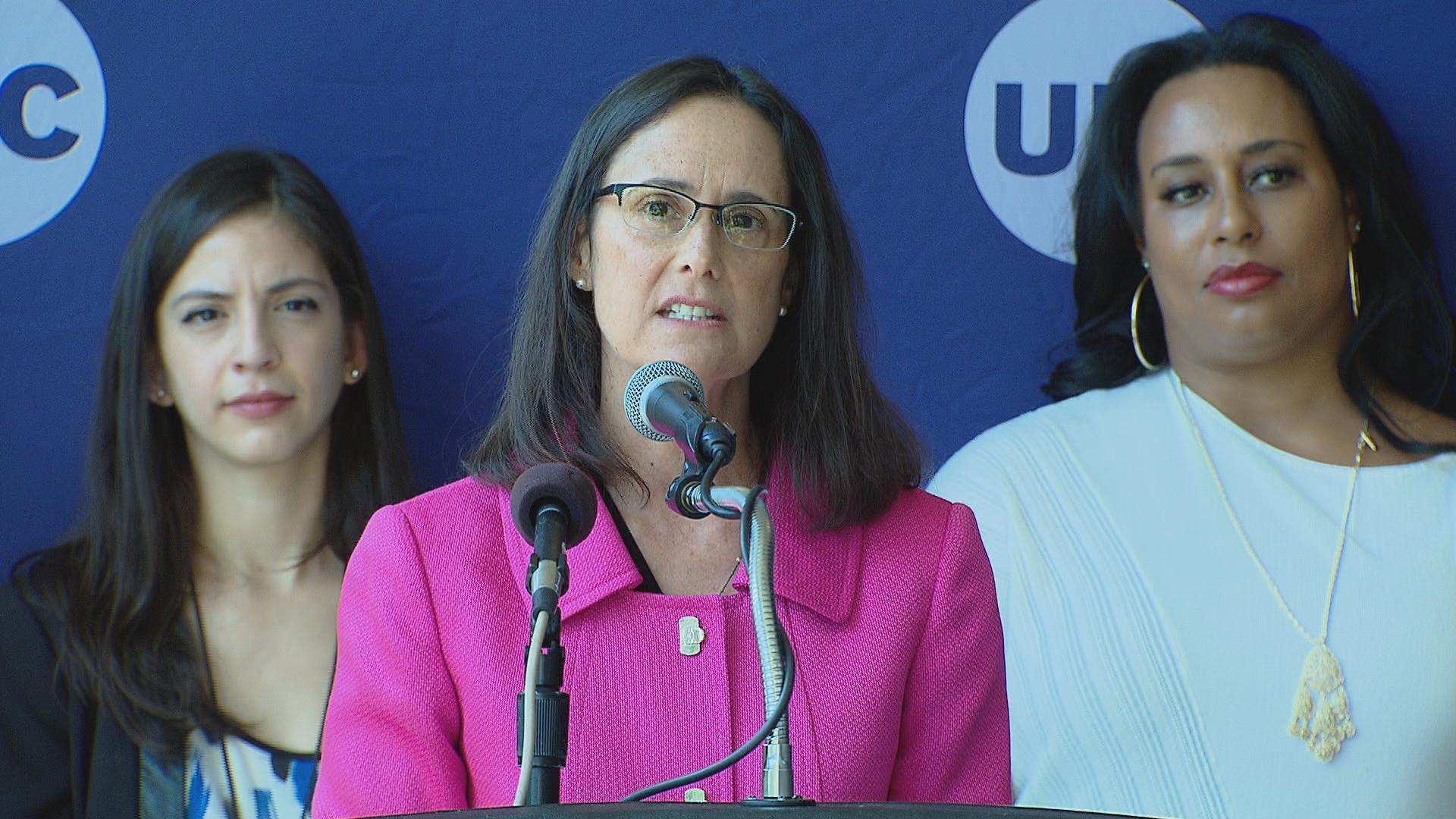 Illinois Attorney General Lisa Madigan speaks about campus sexual assault on Aug. 23, 2016. (Chicago Tonight)