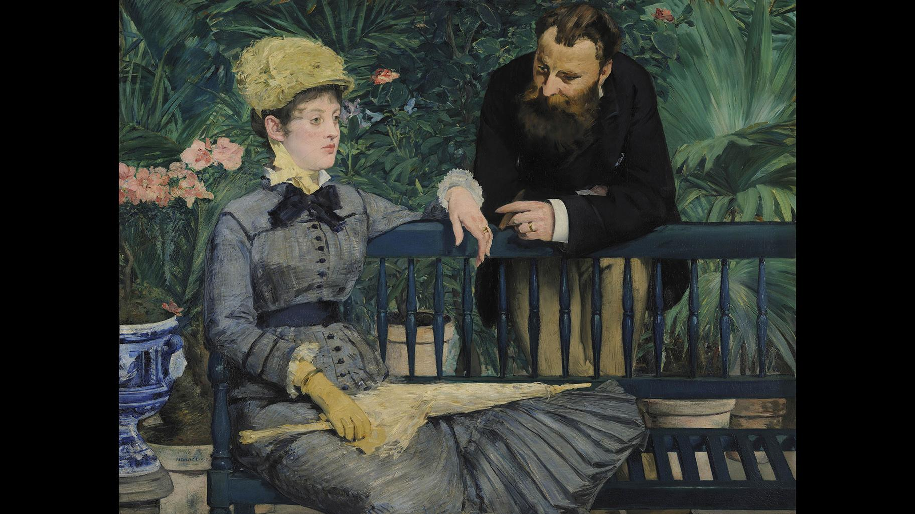 "Édouard Manet. ""In the Conservatory,"" about 1877–79. Staatliche Museen zu Berlin, Nationalgalerie."