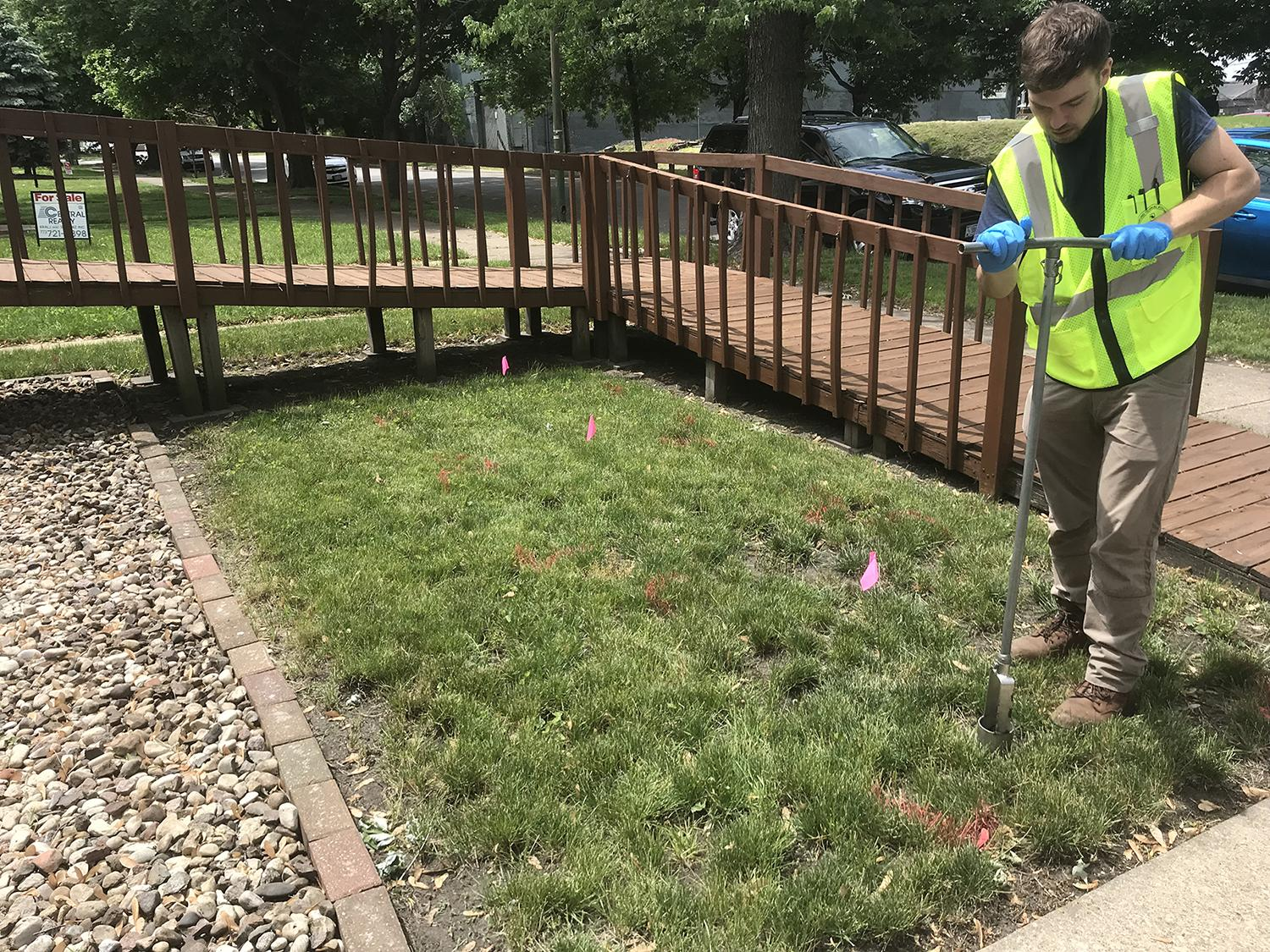 EPA workers began sampling residential yards near S.H. Bell last year to measure levels of manganese, lead and other heavy metals in the soil. (Courtesy U.S. Environmental Protection Agency)