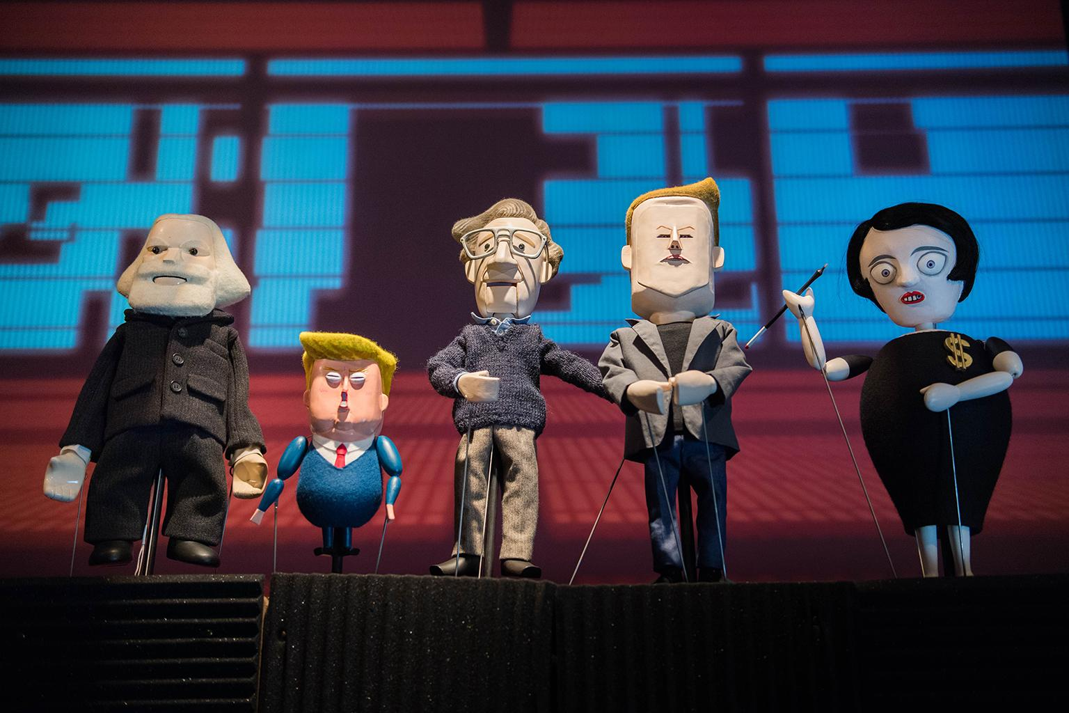 "Pedro Reyes's puppet play ""Manufacturing Mischief,""featuring Karl Marx, Tiny Trump, Noam Chomsky, Elon Musk and Ayn Rand. (Photo by Sham Sthankiya April 2018)"