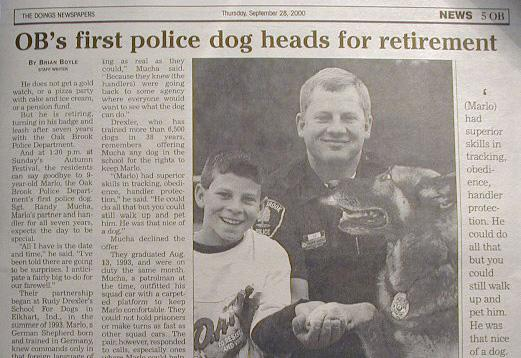 Oak Brook Police K9 Officer Marlo served from 1993-2000. (Randy Mucha)