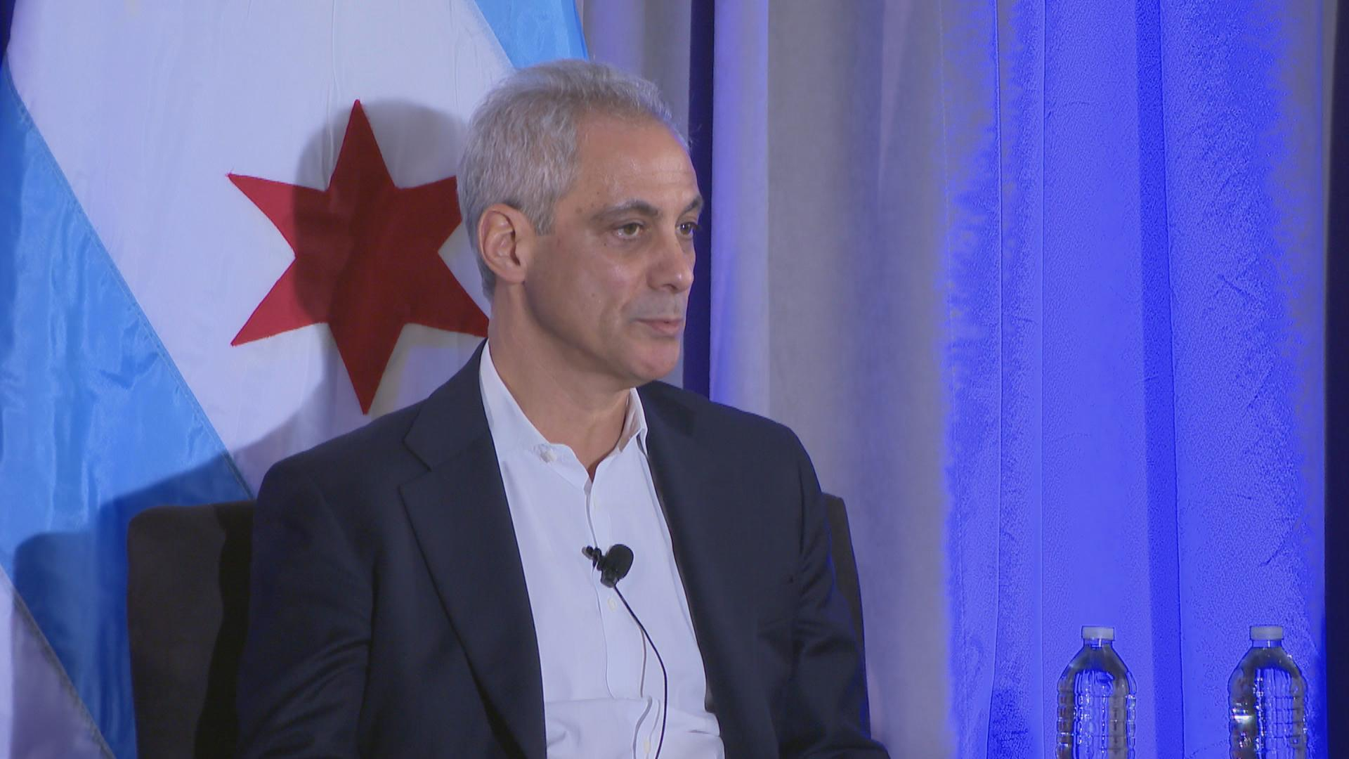 Mayor Rahm Emanuel speaks Thursday at the Chicago Cultural Center, where Chicago Public Schools was recognized as one of the College Board's AP Districts of the Year. (Chicago Tonight)