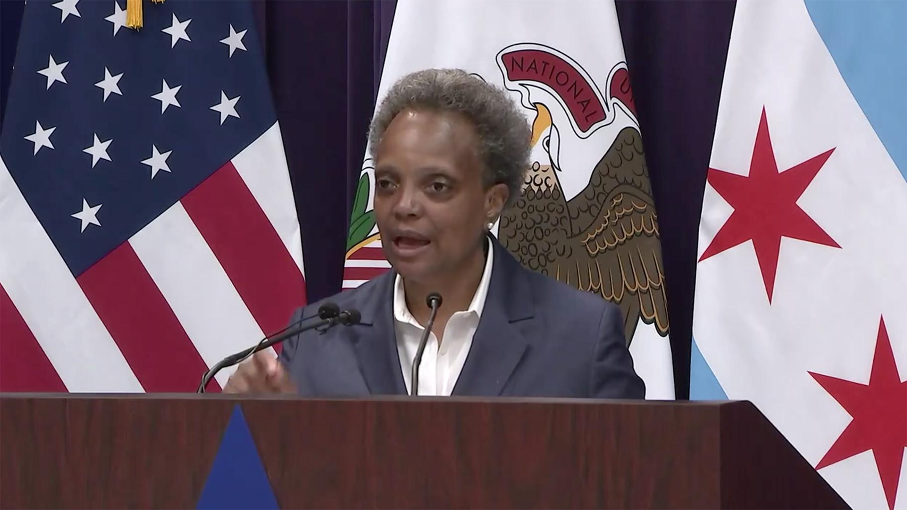 Mayor Lori Lightfoot speaks at a press conference Monday, Aug. 10, 2020. (WTTW News via @MayorLightfoot)