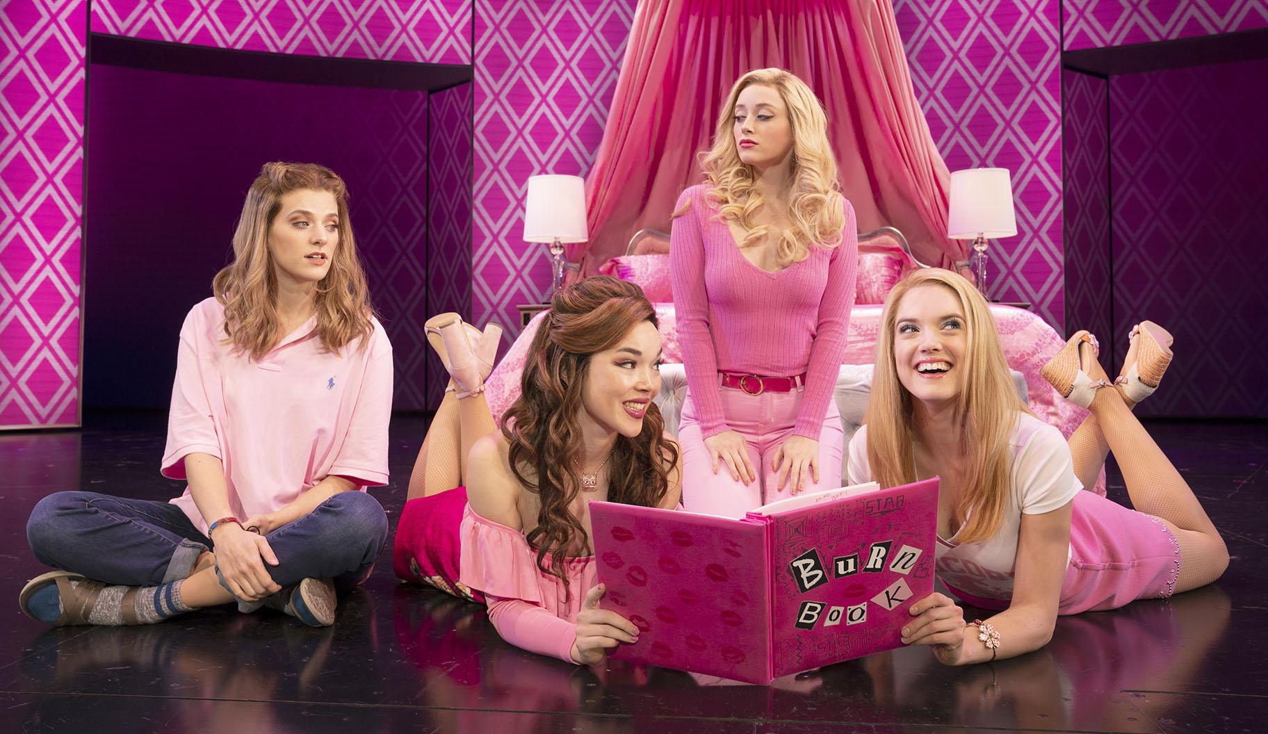 "From left: Danielle Wade, Megan Masako Haley, Mariah Rose Faith and Jonalyn Saxer in the National Touring Company of ""Mean Girls."" (Credit: © 2019 Joan Marcus)"