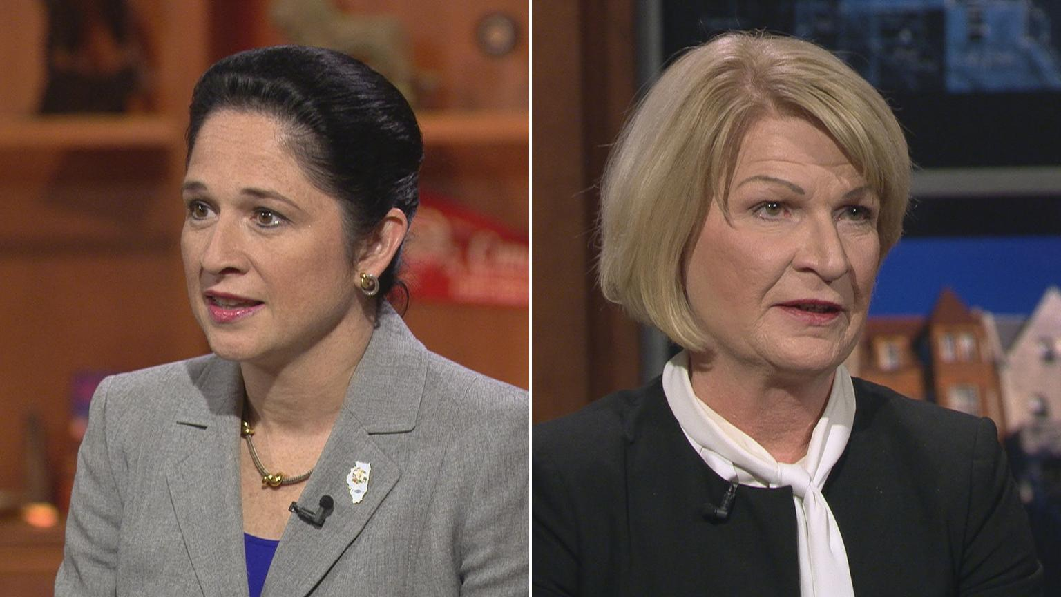 "Illinois Comptroller Susana Mendoza, left, and Darlene Senger participate in a ""Chicago Tonight"" forum on Oct. 25, 2018."