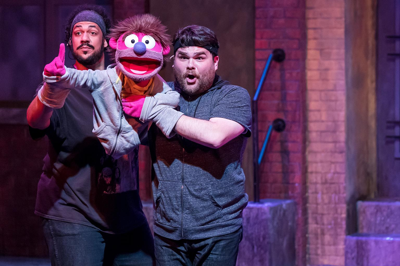 "Jonah D. Winston and Dan Smeriglio in ""Avenue Q"" at Mercury Theater. (Credit: Brett A. Beiner)"