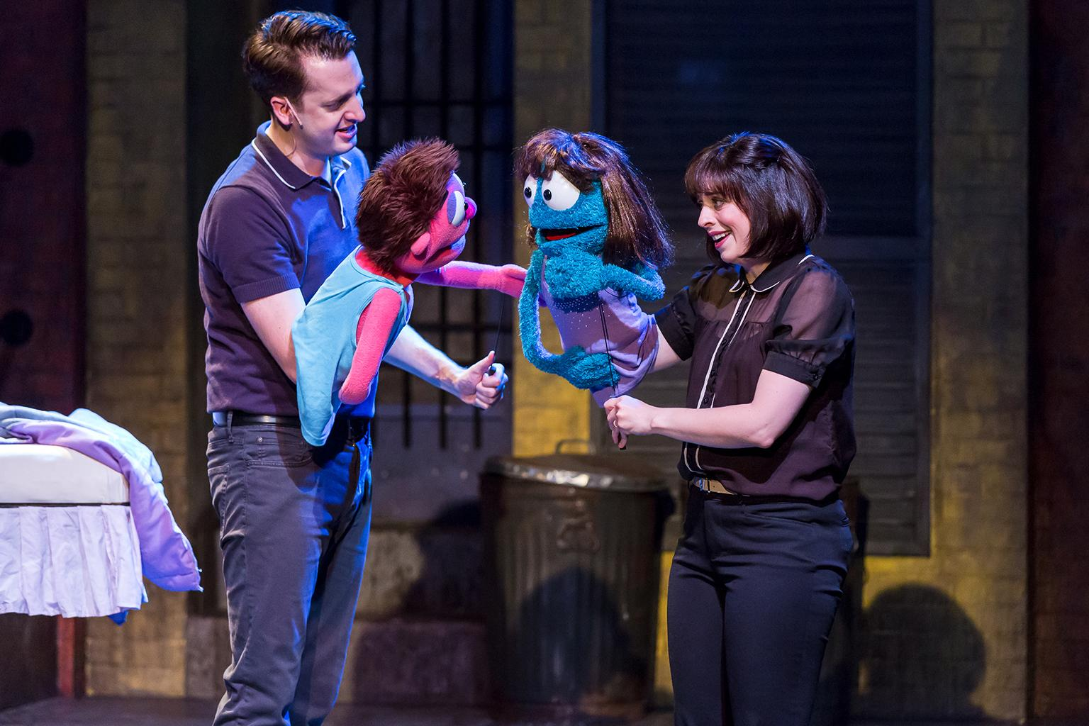 "Jackson Evans and Leah Morrow in ""Avenue Q"" at Mercury Theater. (Credit: Brett A. Beiner)"