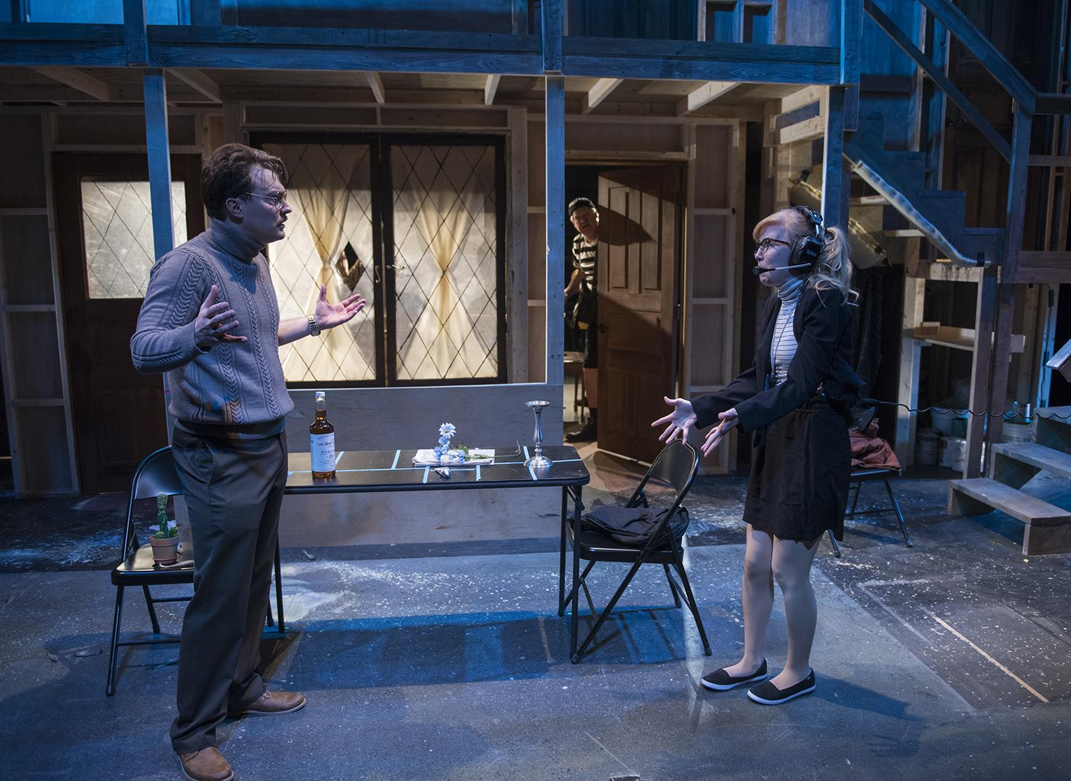 "Mike Tepeli and Erica Bittner in ""Noises Off"" (Credit: Michael Brosilow)"