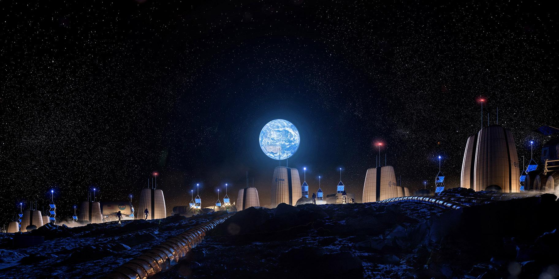 A vision of what a permanent human presence on the moon could look like. (Credit: SOM / Slashcube GmbH)  - Moon 20Village Earth 20View 20Final - Skidmore, Owings & Merrill Work with European Space Agency to Design 'Moon Village'   Chicago News