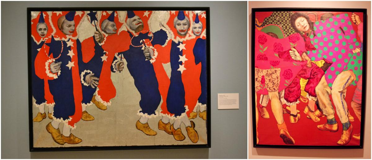 Left: Mummers Cycle Uncle Sam's Clowns, 1969. Right: Mummers Cycle De Niro Comic Club, 1970. (Courtesy Estate of William Utermohlen and private lenders)