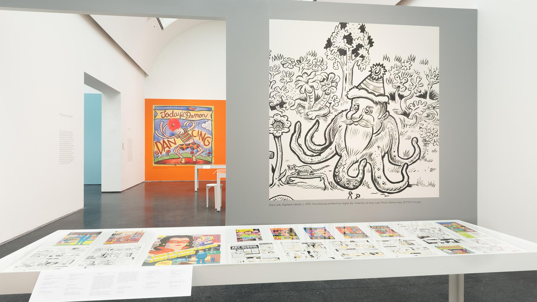 Installation view, Chicago Comics: 1960s to Now is on display from June 19 to October 3, 2021 (Nathan Keay / MCA Chicago)