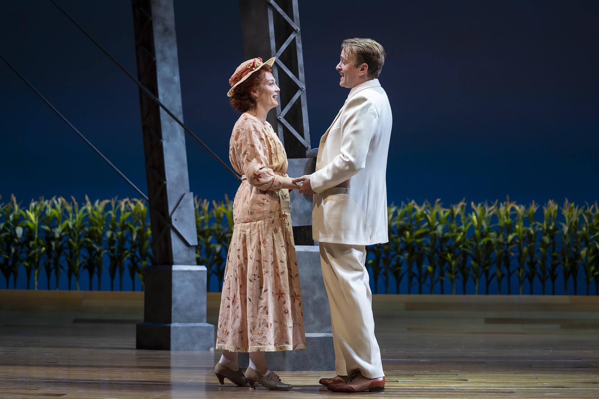"Monica West (Marian Paroo) and Geoff Packard (Harold Hill) in ""The Music Man"" with music and lyrics by Meredith Willson and a book by Meredith Willson and Franklin Lacey, directed by Mary Zimmerman. (Photo by Liz Lauren)"