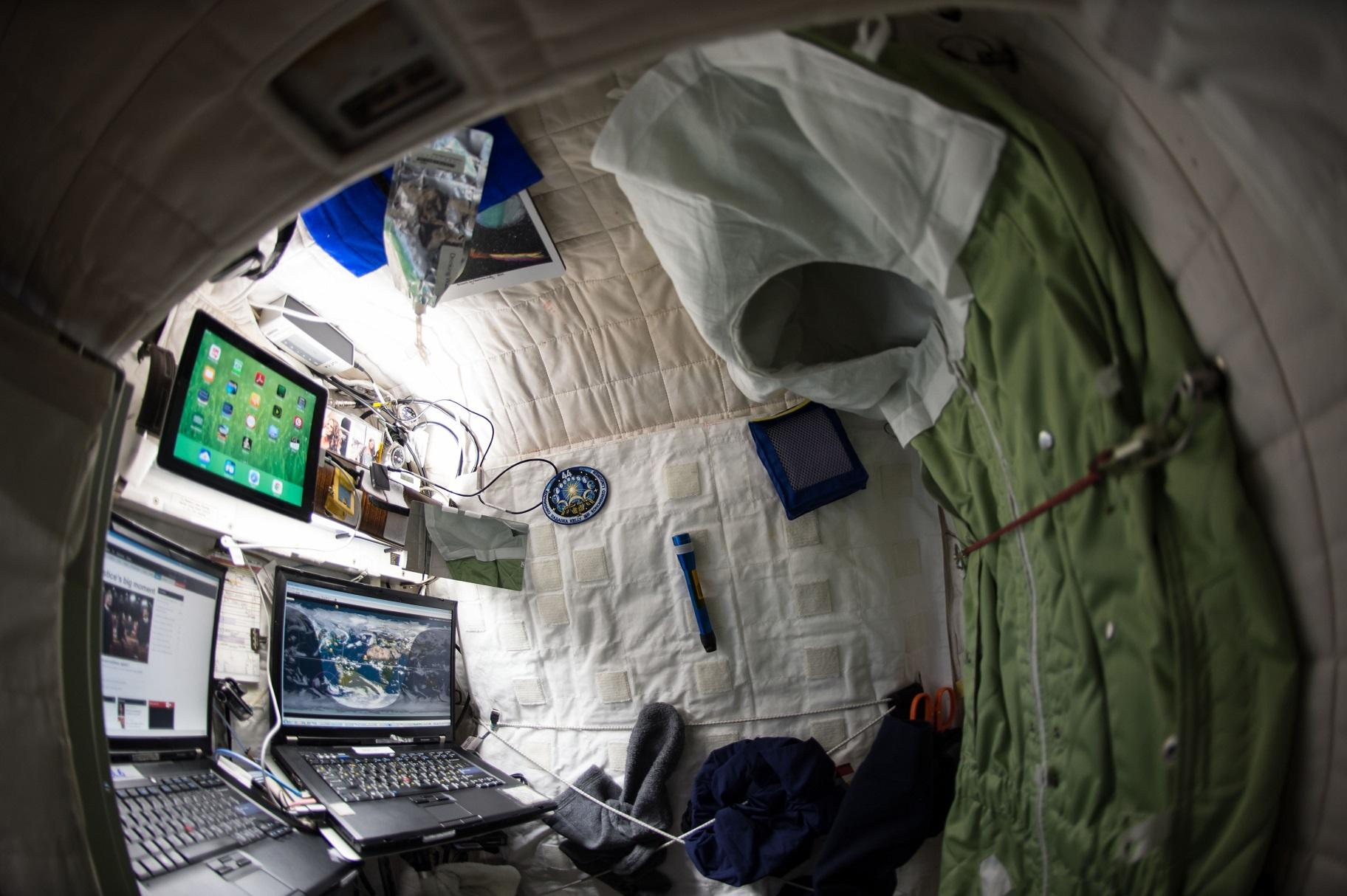 Astronaut Scott Kelly's personal living quarters on the International Space Station (Courtesy NASA)