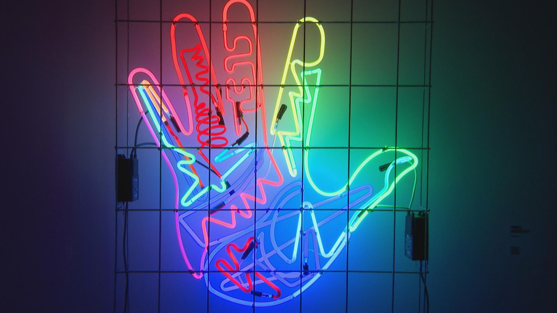 A work of art featured at the Neon and Light Museum. (WTTW News)